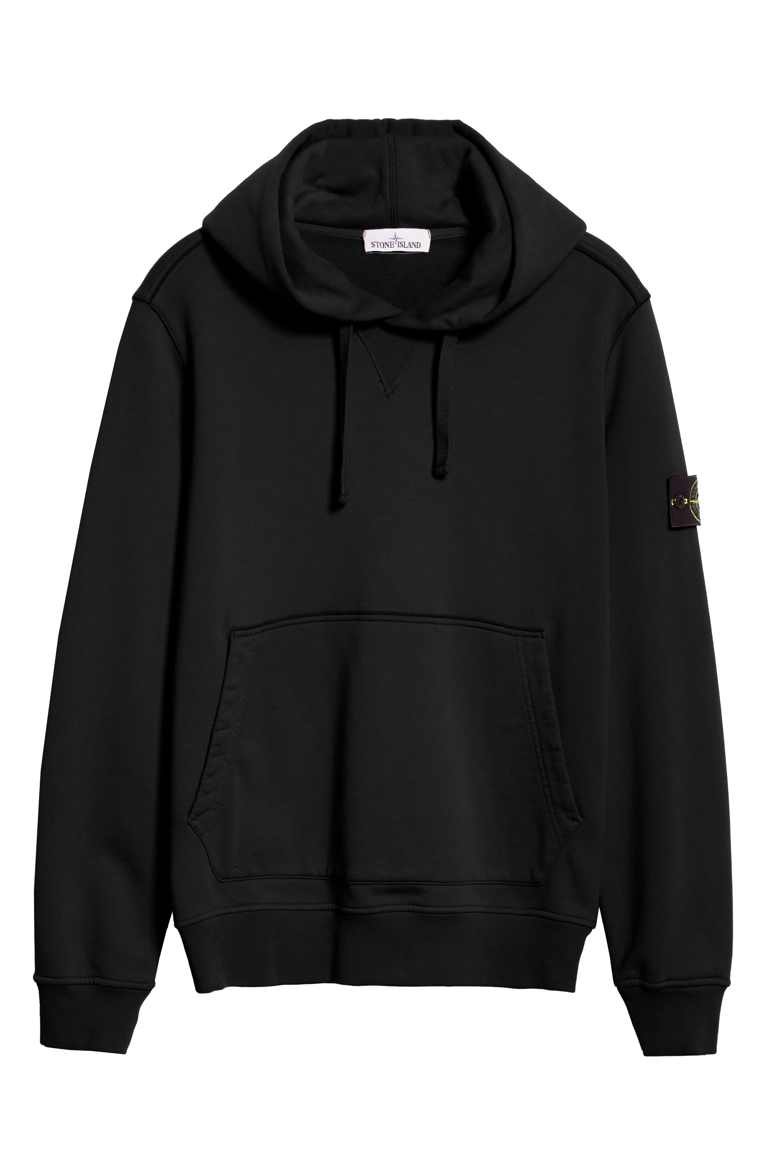 STONE ISLAND, Pullover Hoodie, Alternate thumbnail 6, color, BLACK