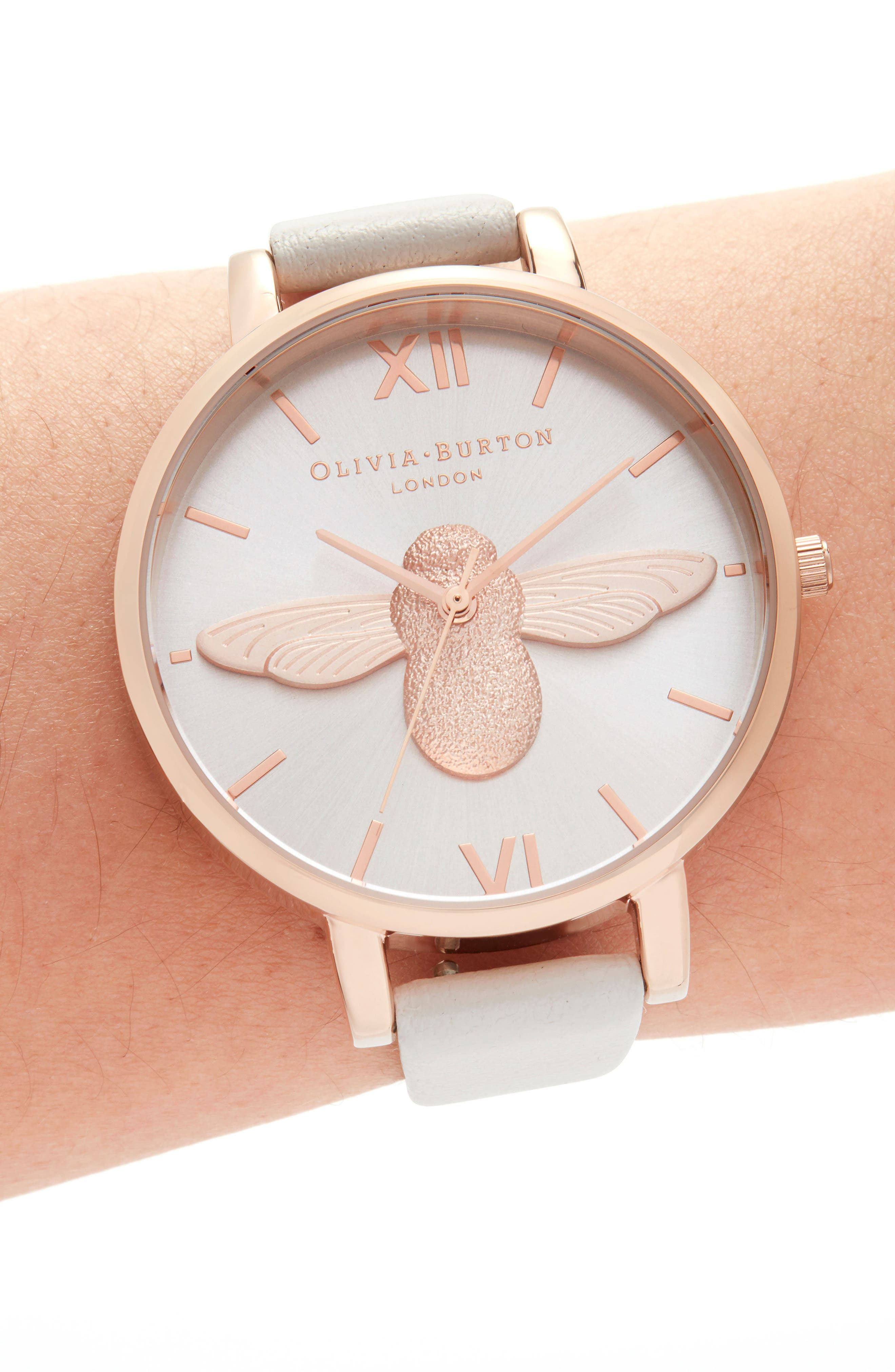 OLIVIA BURTON, 'Molded Bee' Leather Strap Watch, 38mm, Alternate thumbnail 2, color, BLUSH/ SUNRAY BEE/ ROSE GOLD