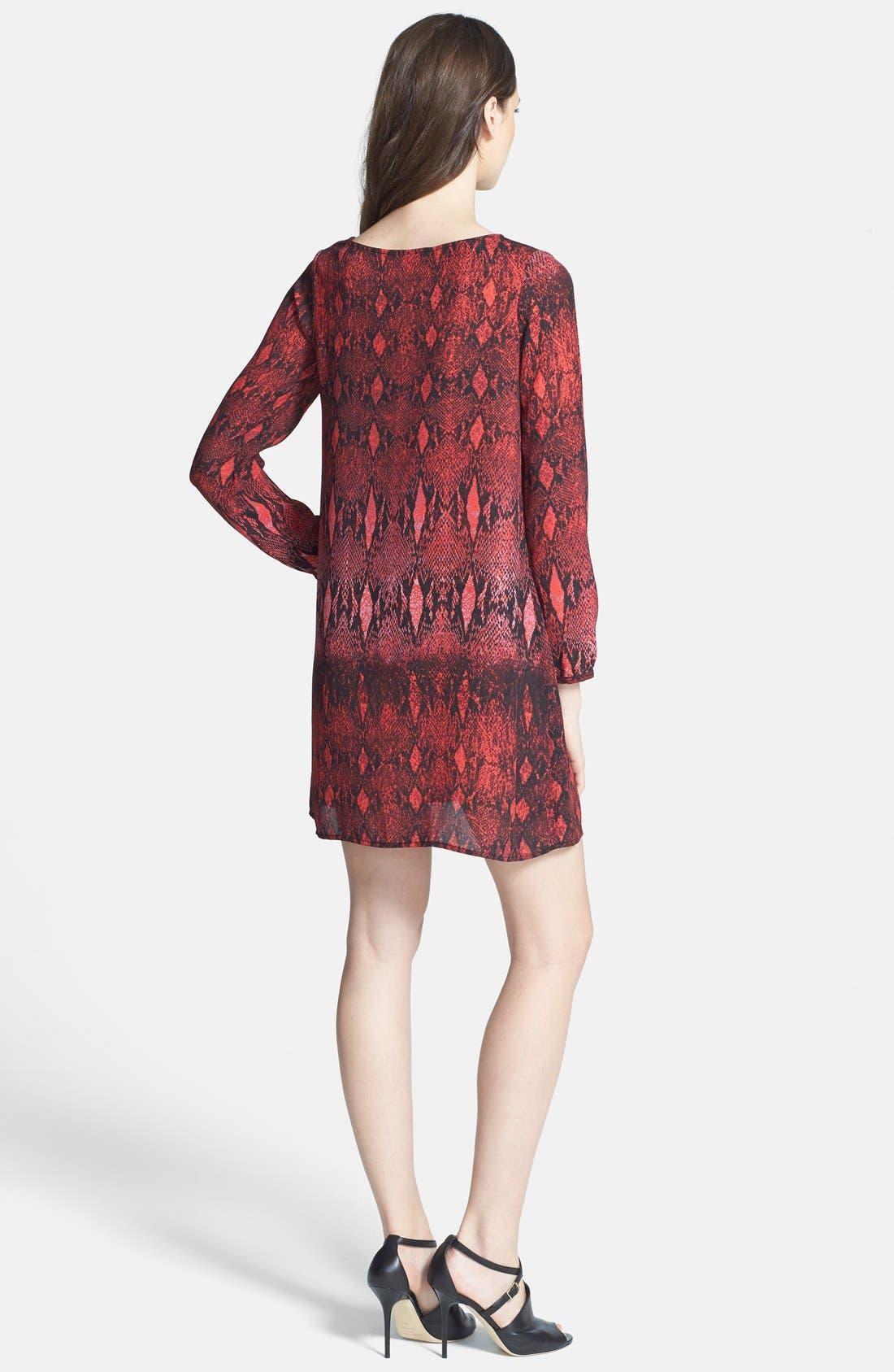 BB DAKOTA, 'Vasha' Snakeskin Print Shift Dress, Alternate thumbnail 3, color, 600