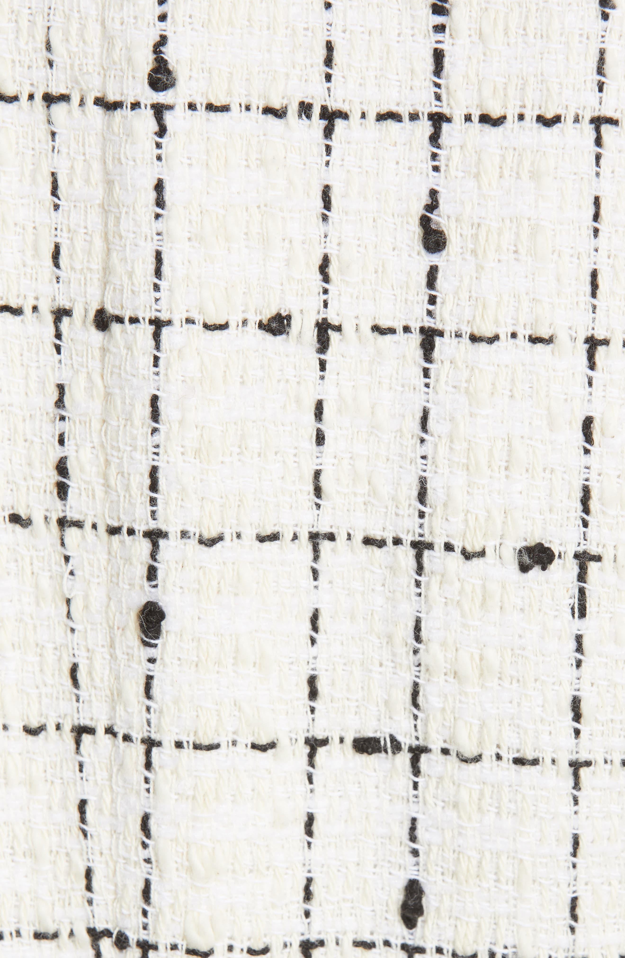 REBECCA TAYLOR, Plaid Tweed Zip Jacket, Alternate thumbnail 7, color, CREAM COMBO