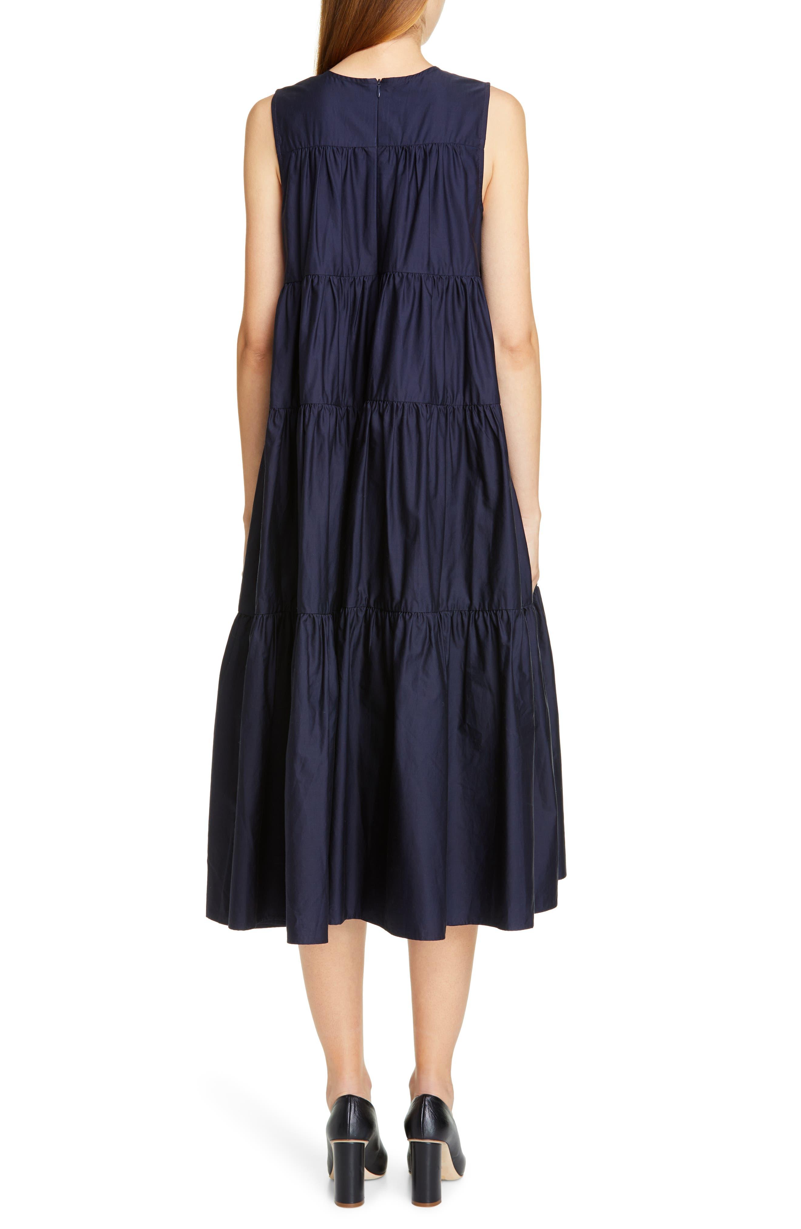 CO, Tiered Cotton Midi Dress, Alternate thumbnail 2, color, NAVY