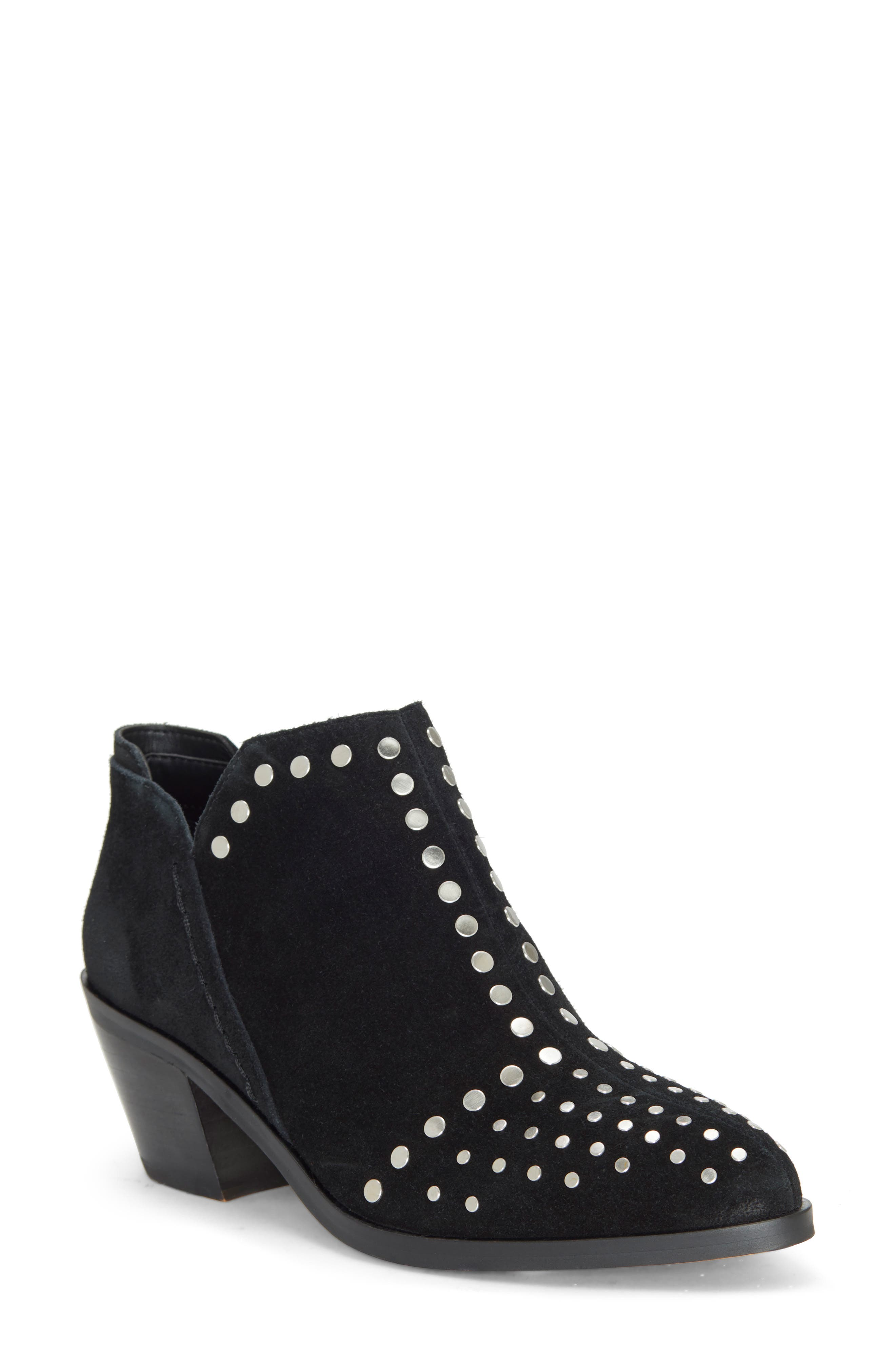 1.STATE, Loka Studded Bootie, Main thumbnail 1, color, BLACK SUEDE