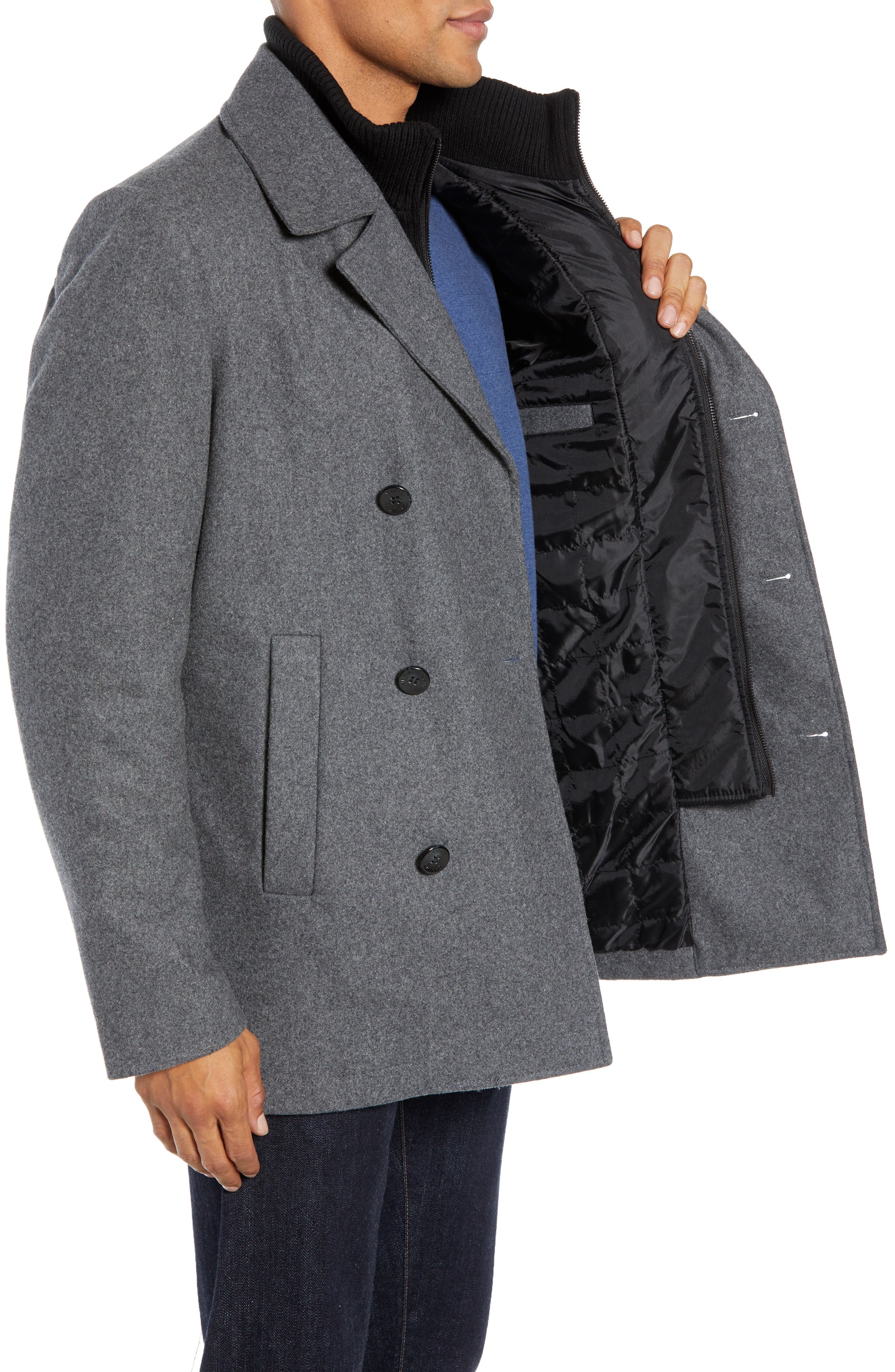 VINCE CAMUTO, Dock Peacoat, Alternate thumbnail 4, color, HEATHER GREY