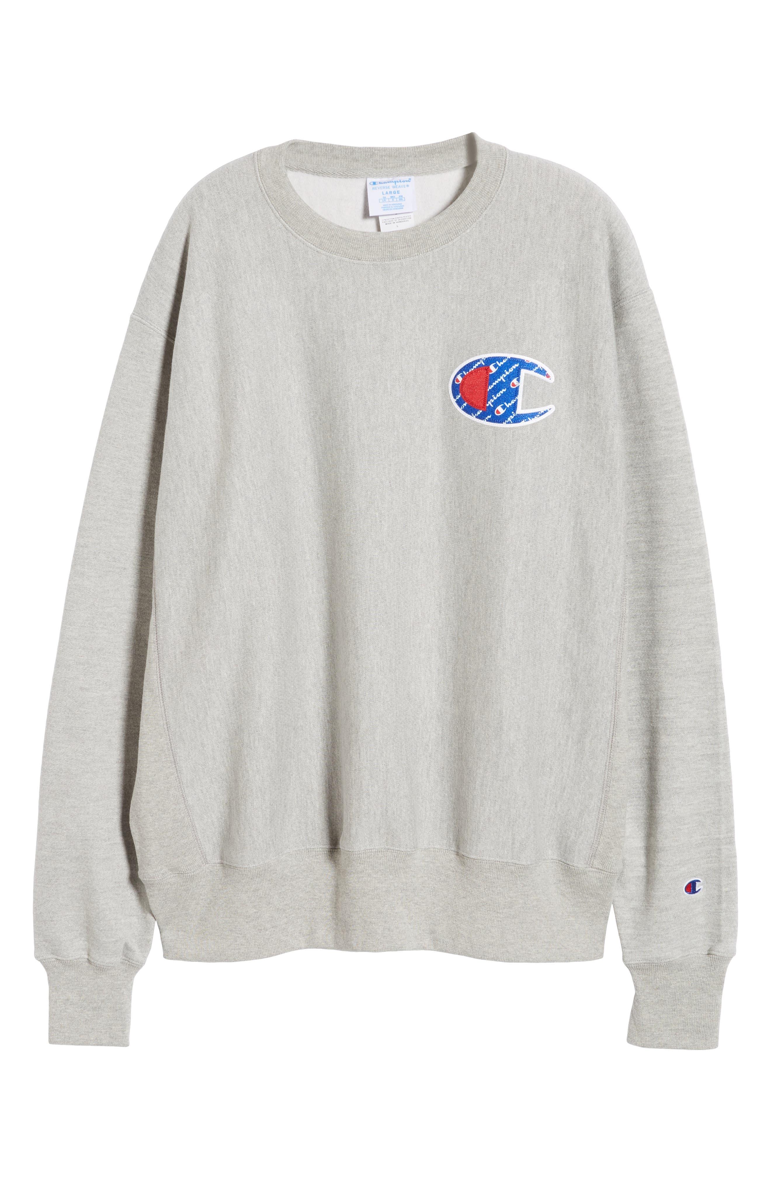 CHAMPION, Sublimated Logo Crewneck Sweatshirt, Alternate thumbnail 4, color, OXFORD GREY