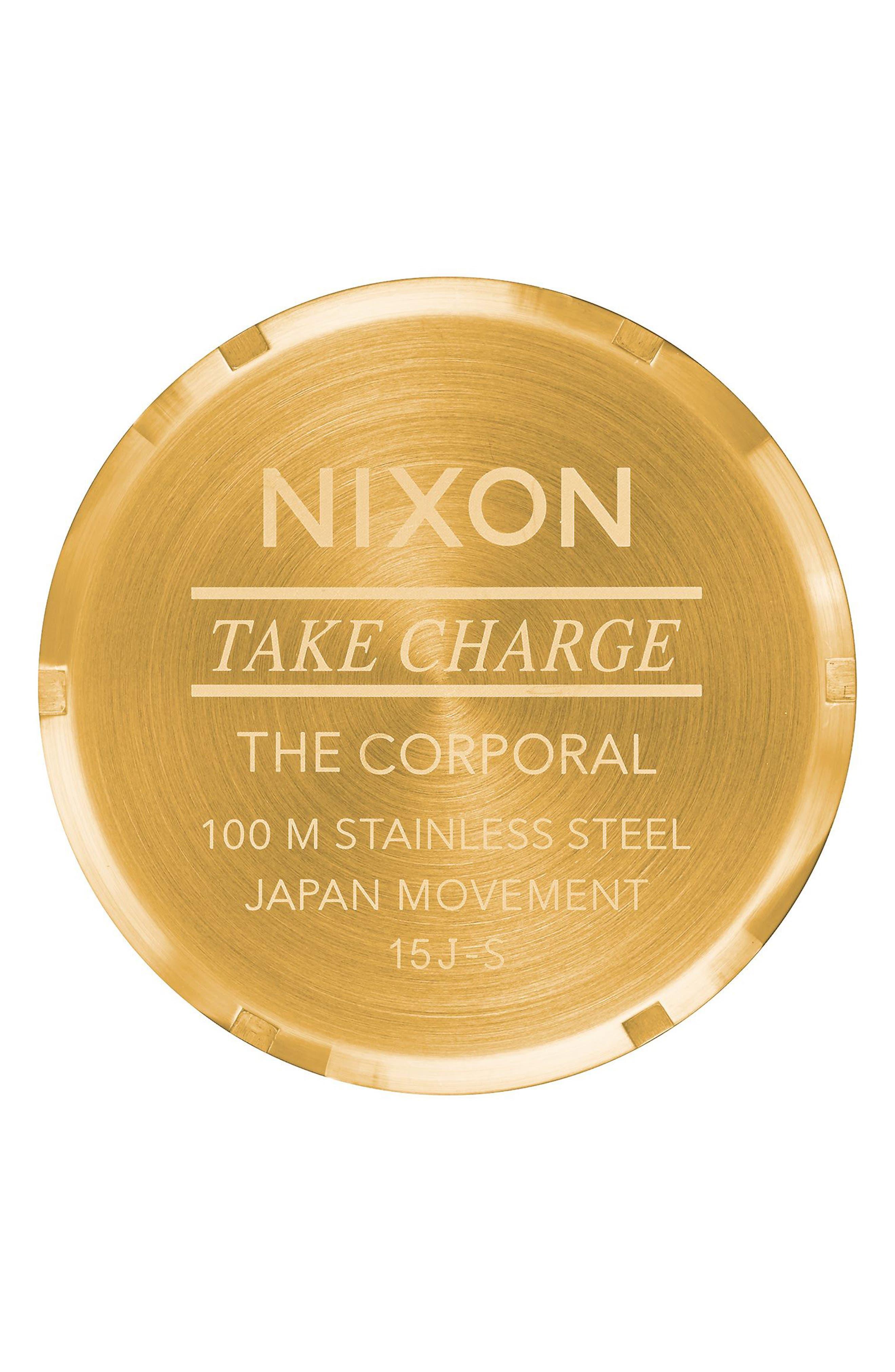 NIXON, The Corporal Bracelet Watch, 48mm, Alternate thumbnail 4, color, GOLD