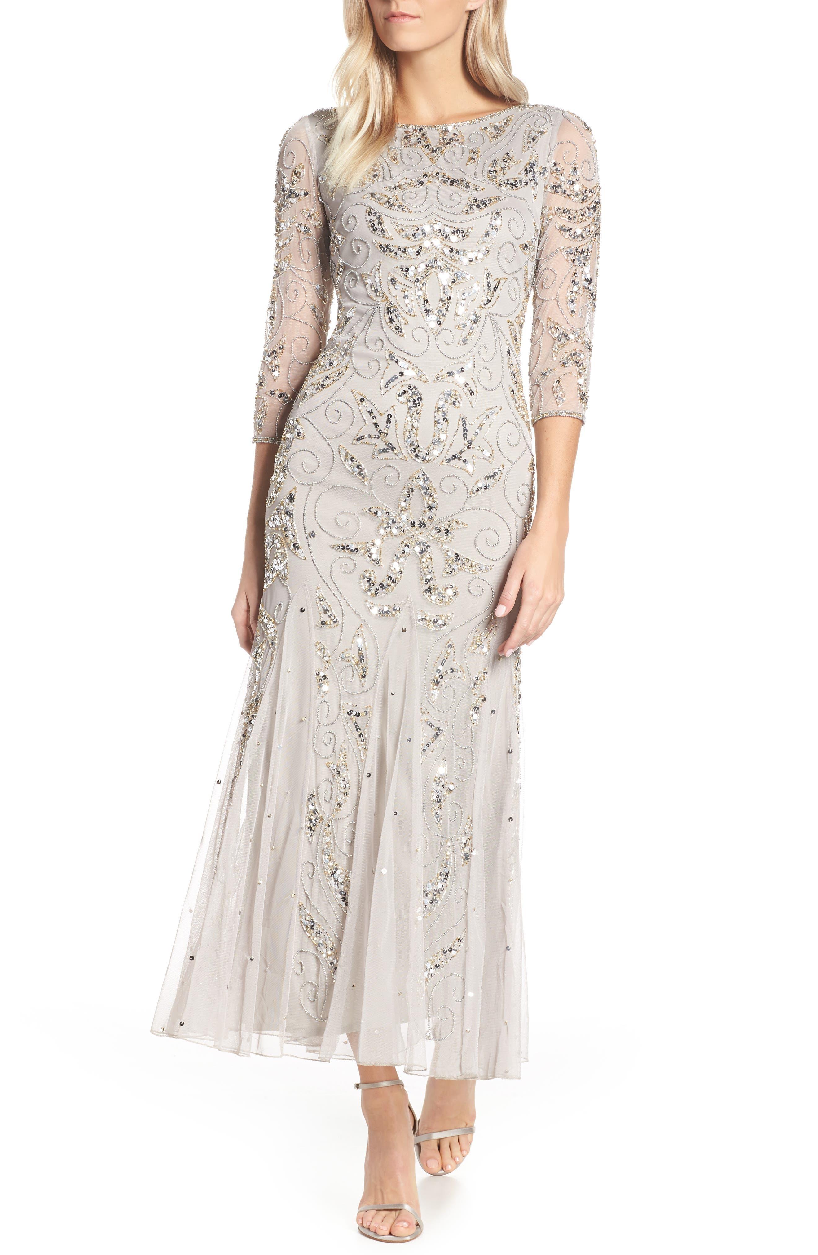 Vintage Inspired Wedding Dress | Vintage Style Wedding Dresses Womens Pisarro Nights Embellished Mesh Gown Size 12 - Metallic $218.00 AT vintagedancer.com