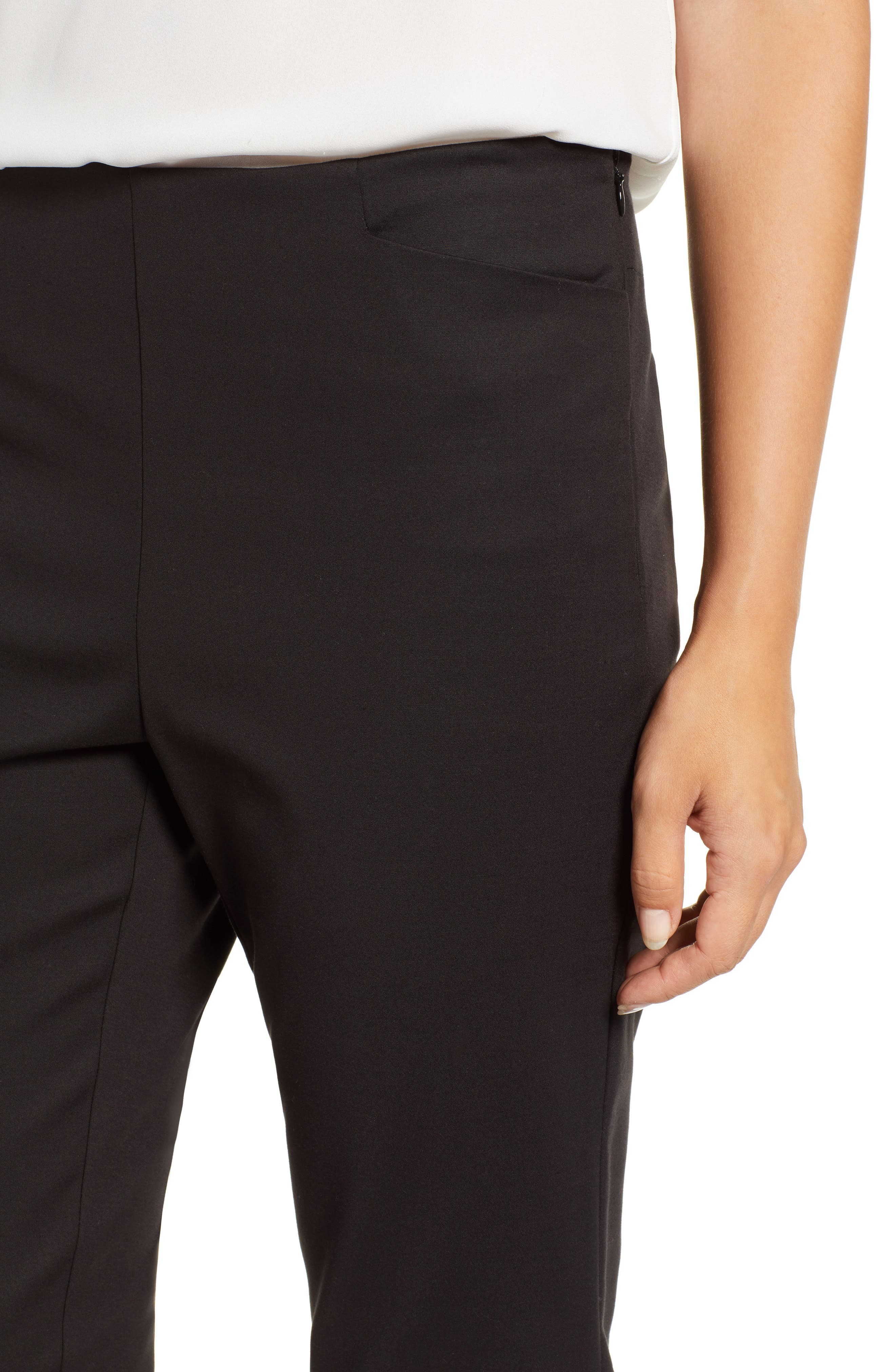 VINCE CAMUTO, Side Zip Stretch Cotton Blend Pants, Alternate thumbnail 5, color, RICH BLACK