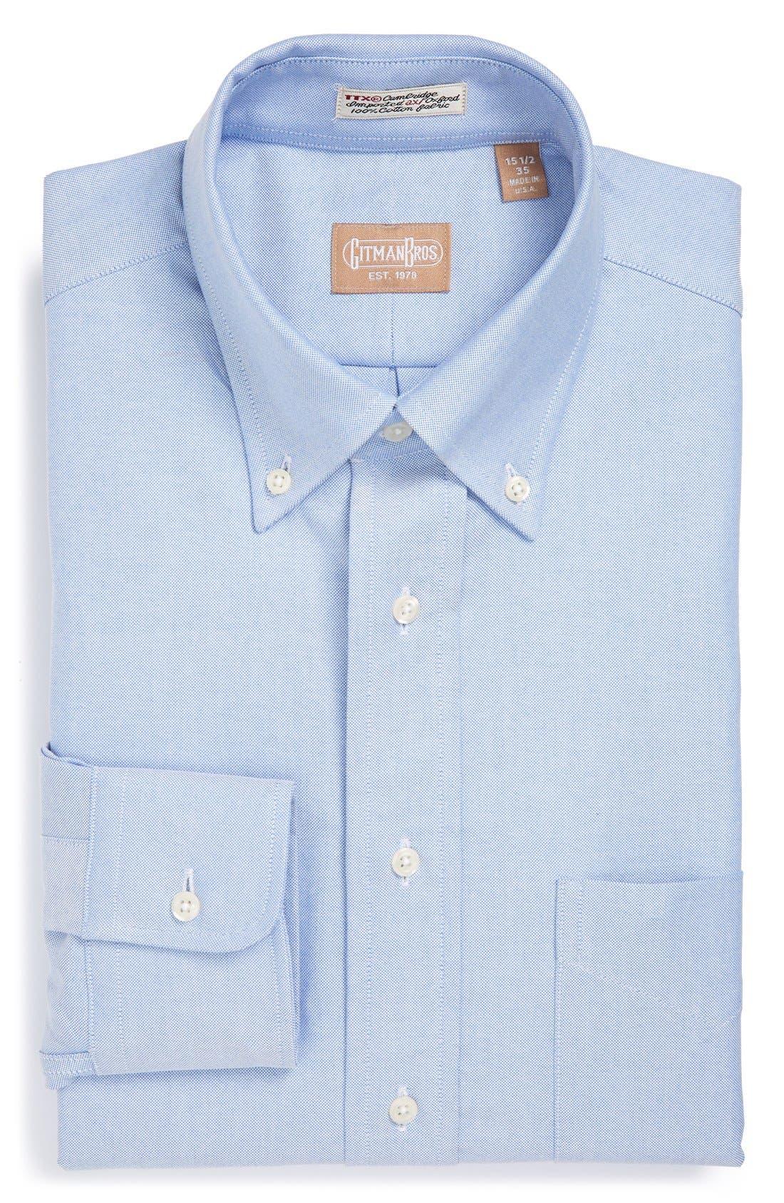 GITMAN, 'Cambridge Oxford' Regular Fit Dress Shirt, Main thumbnail 1, color, BLUE