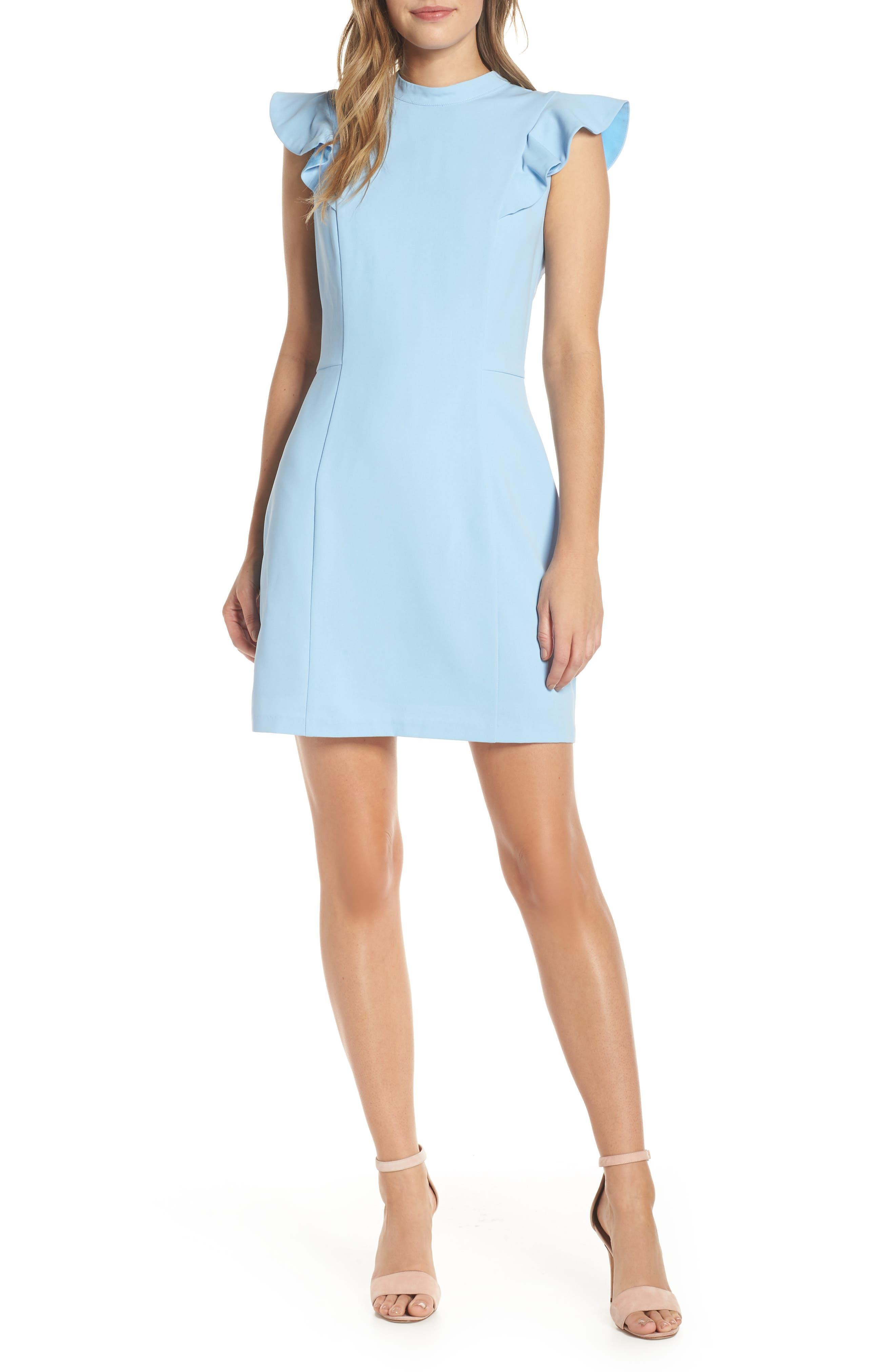 Adelyn Rae Mylie Ruffle Sleeve Dress, Blue