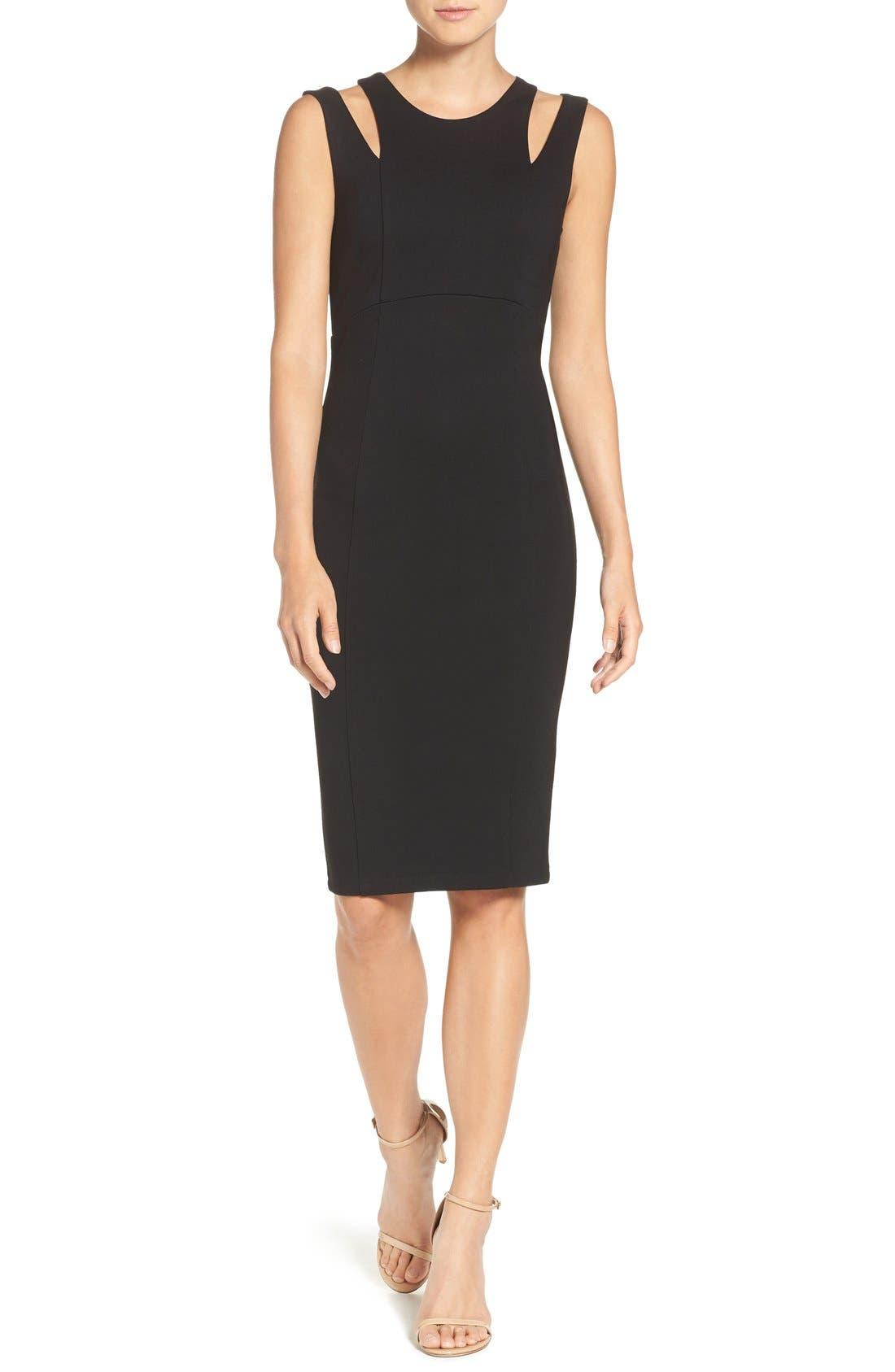 FELICITY & COCO Shoulder Detail Ponte Sheath Dress, Main, color, 001