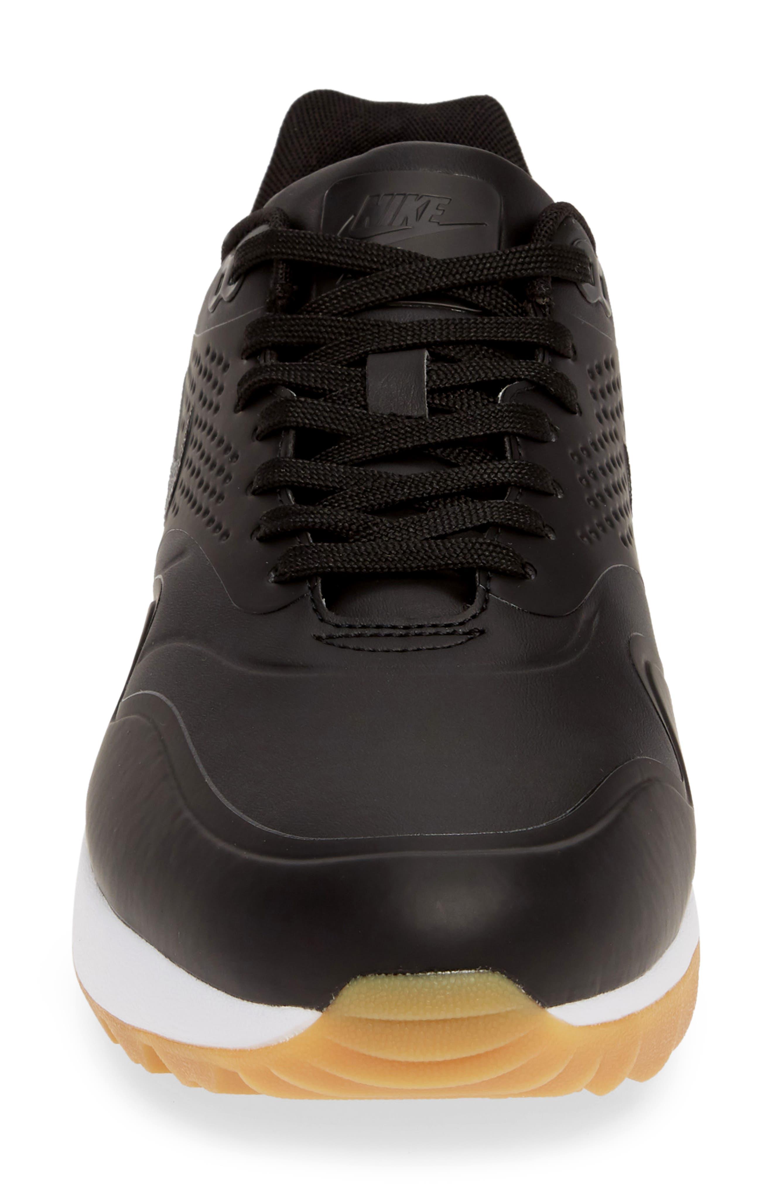 NIKE, Air Max 1 Golf Sneaker, Alternate thumbnail 4, color, BLACK/ GUM LIGHT BROWN