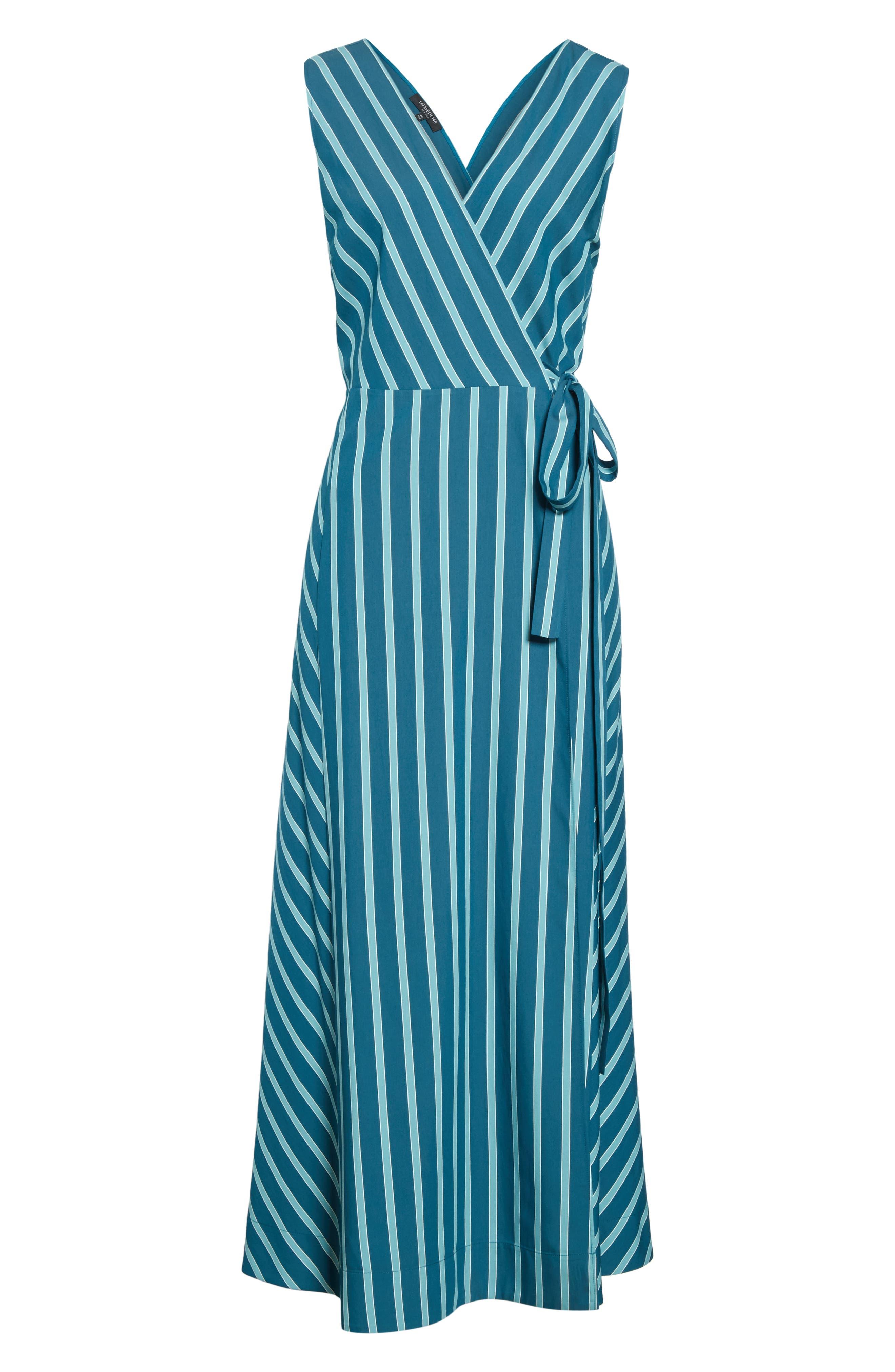 LAFAYETTE 148 NEW YORK, Siri Wrap Dress, Alternate thumbnail 7, color, PACIFIC MULTI