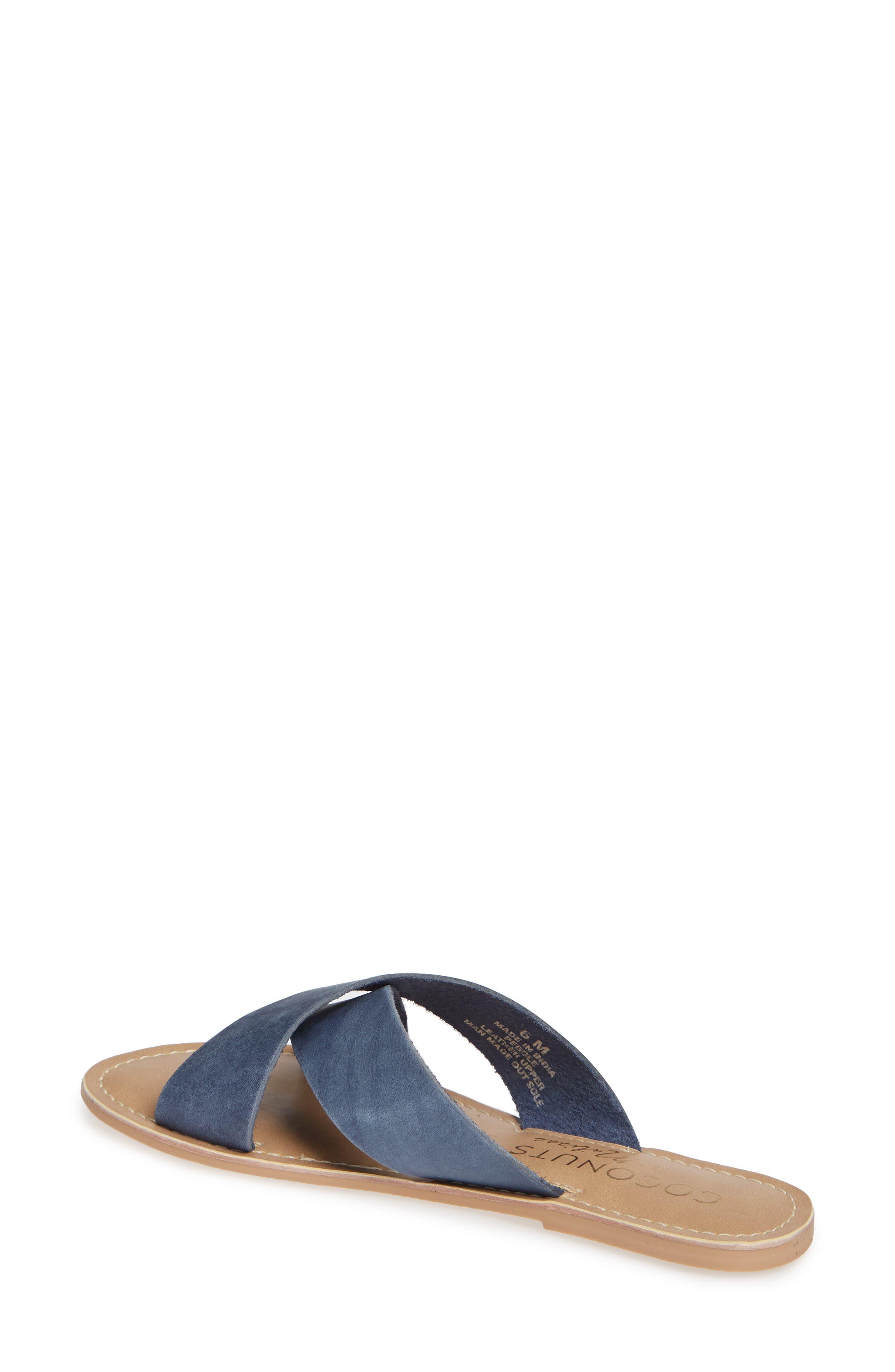 COCONUTS BY MATISSE, Pebble Slide Sandal, Alternate thumbnail 2, color, BLUE NUBUCK LEATHER