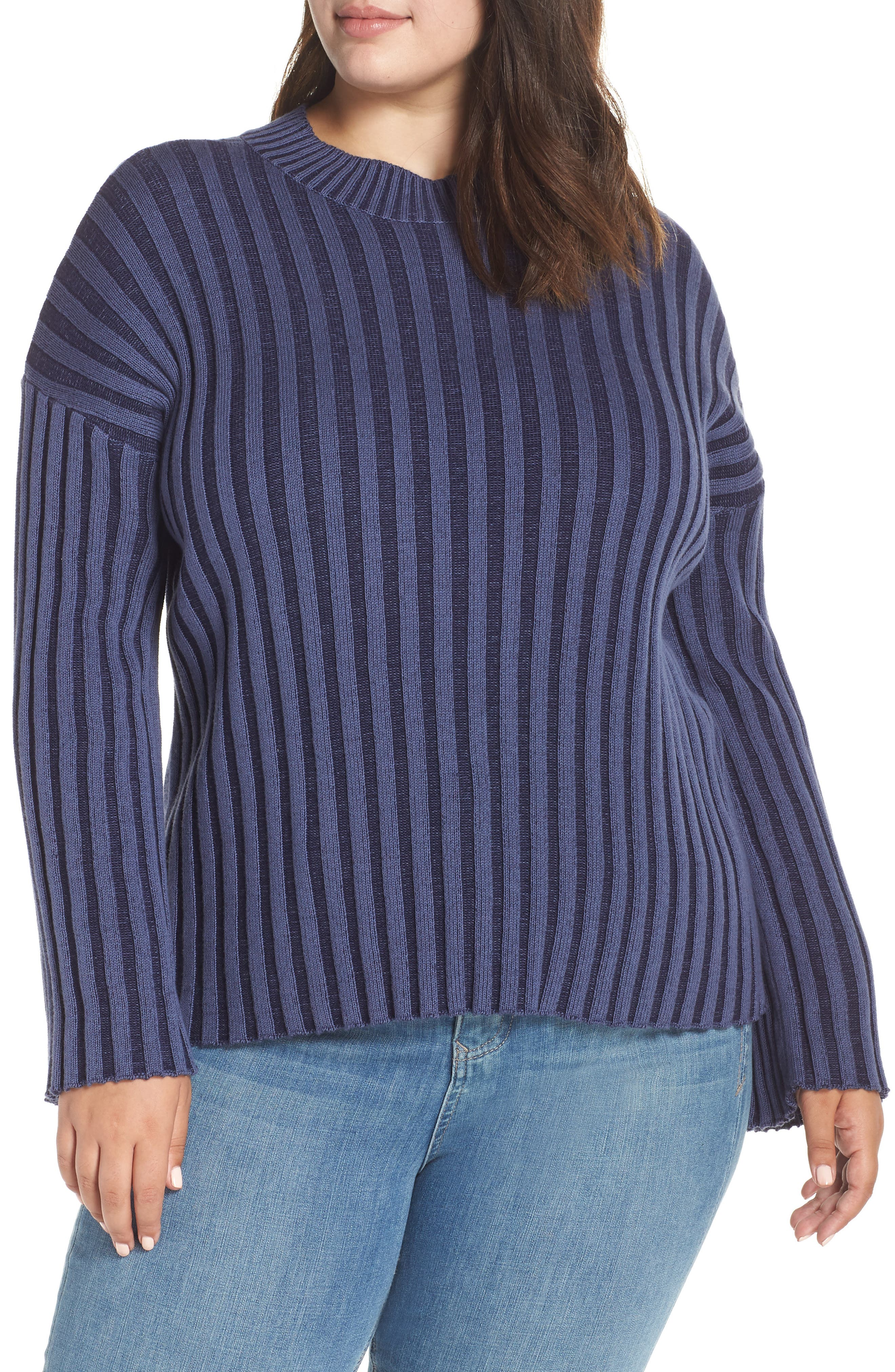 BP., Shadow Rib Crop Sweater, Alternate thumbnail 2, color, NAVY EVENING