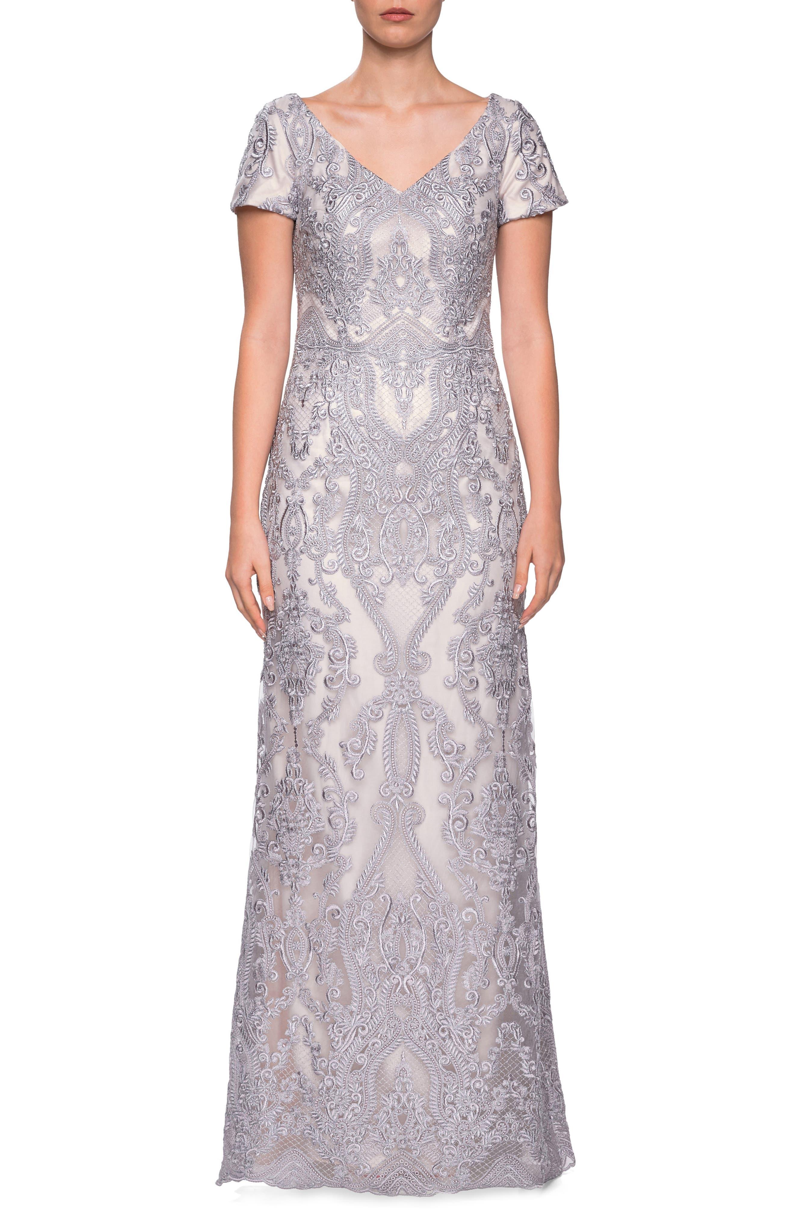 La Femme Embroidered Lace Column Dress, Grey