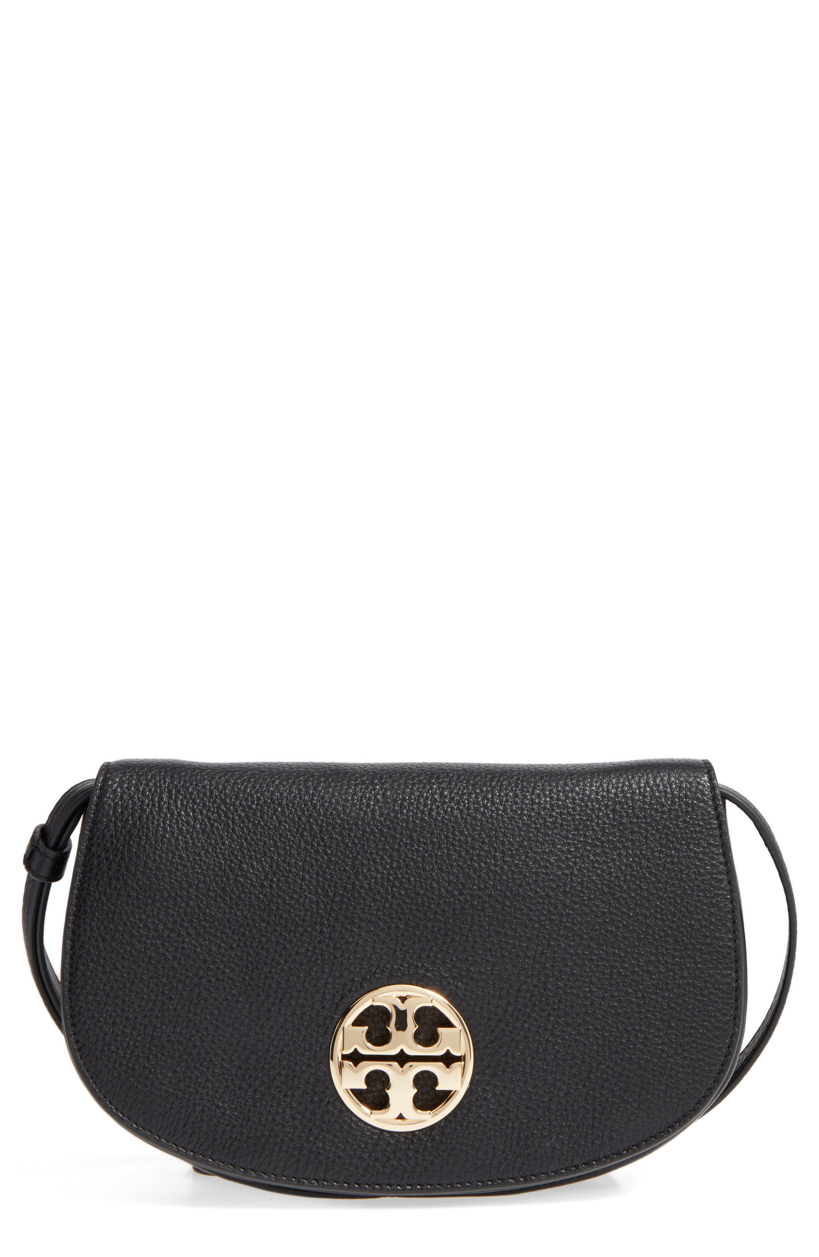 TORY BURCH Jamie Convertible Leather Clutch, Main, color, 001