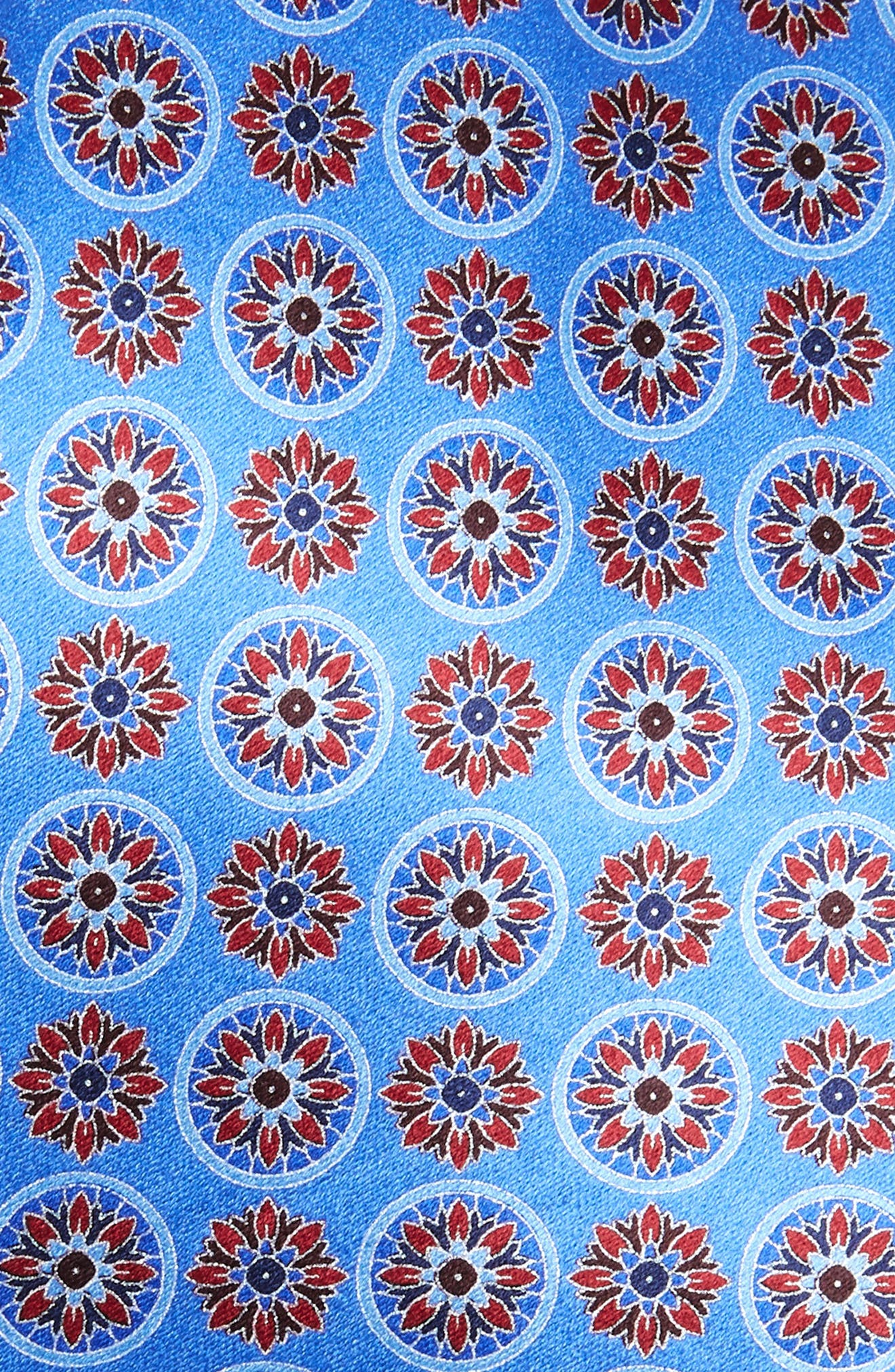 ERMENEGILDO ZEGNA, Floral Medallion Silk Tie, Alternate thumbnail 2, color, BLUE