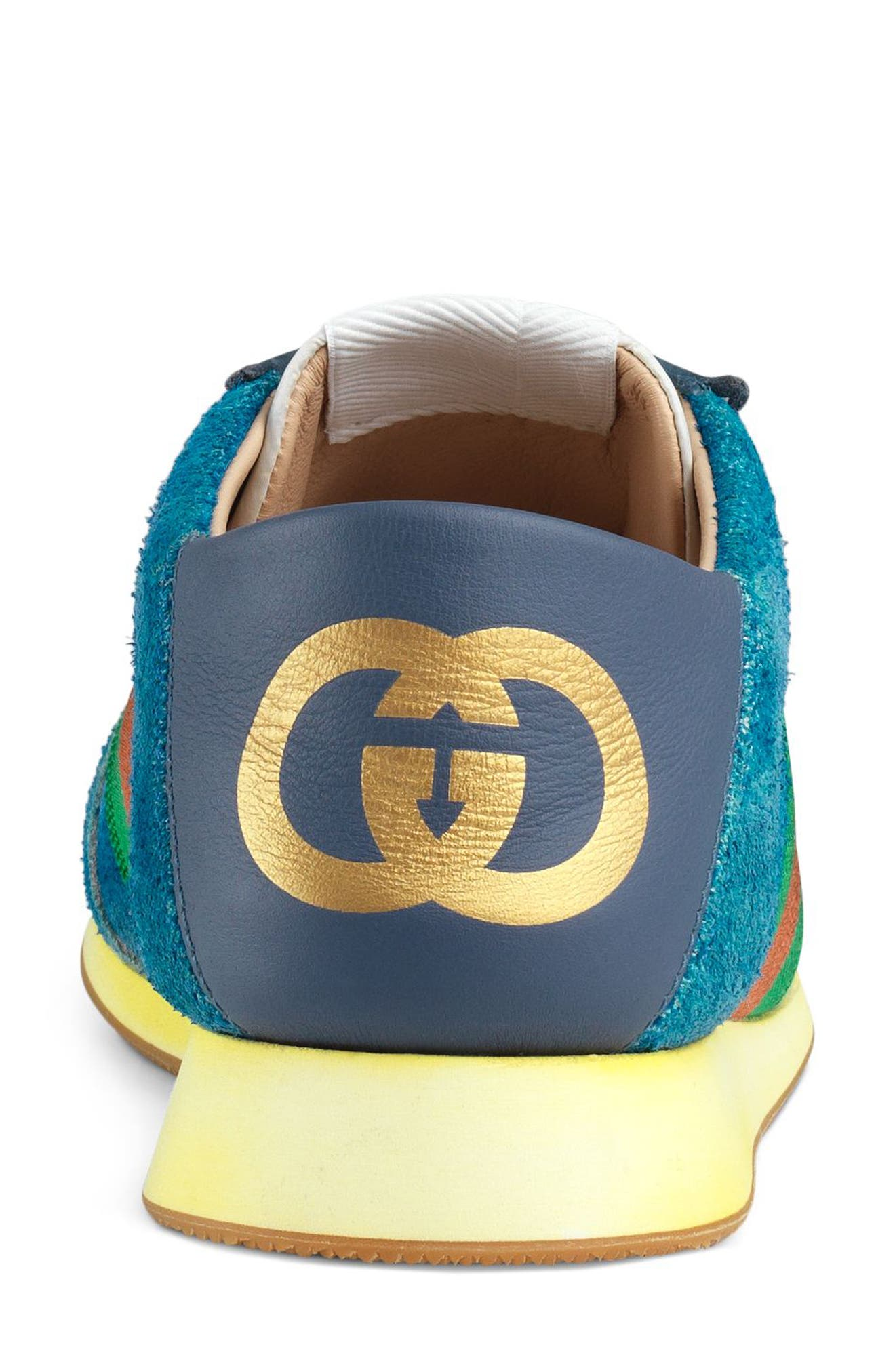 GUCCI, Rocket Convertible Sneaker, Alternate thumbnail 3, color, BLUE