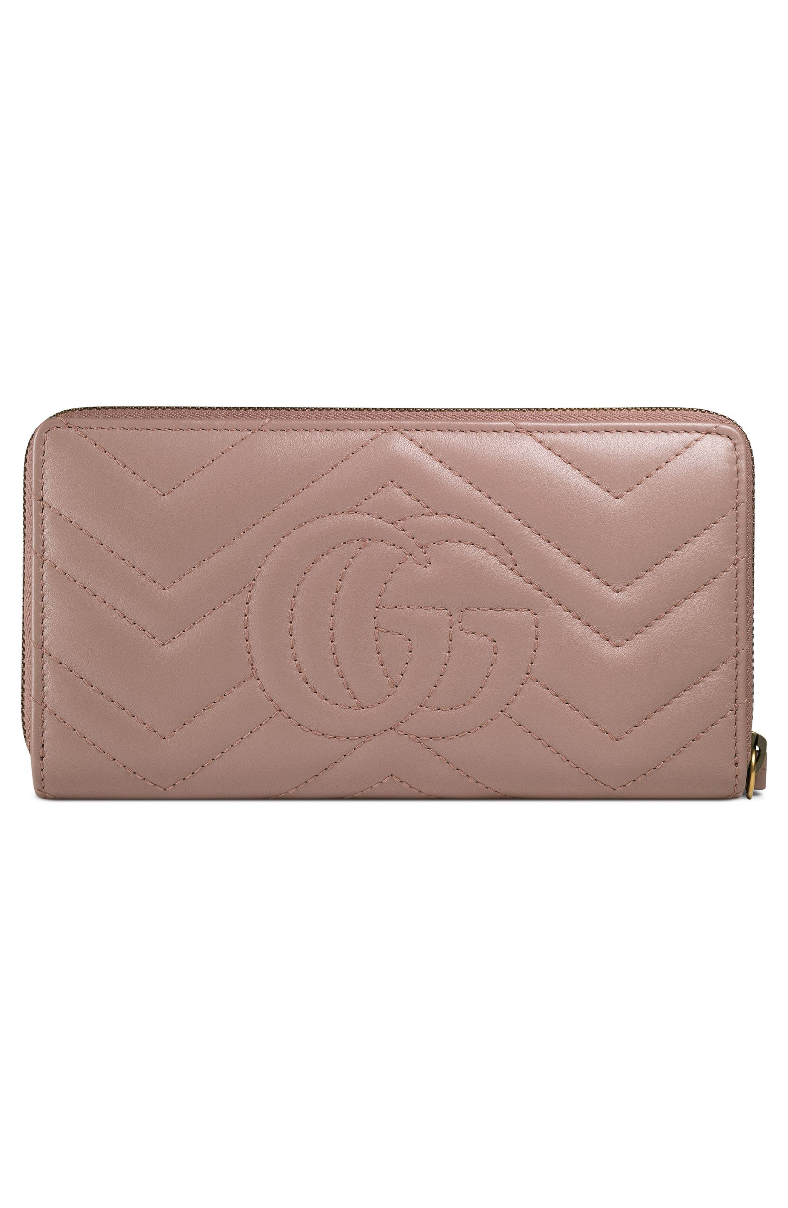GUCCI, GG Marmont Matelassé Leather Zip-Around Wallet, Alternate thumbnail 4, color, PORCELAIN ROSE