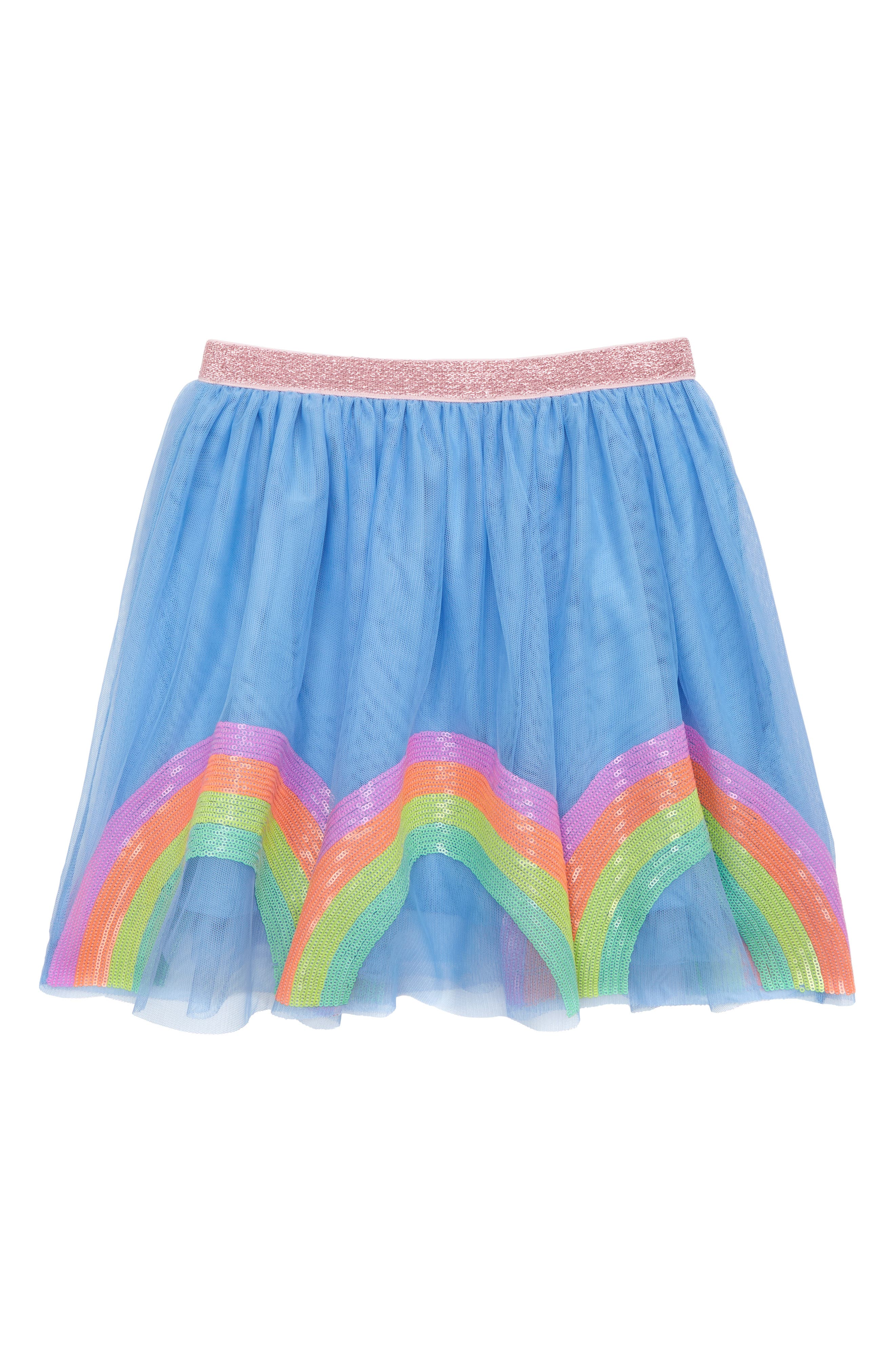 Girls Crewcuts By Jcrew Rainbow Sequin Tulle Skirt Size 10  Blue