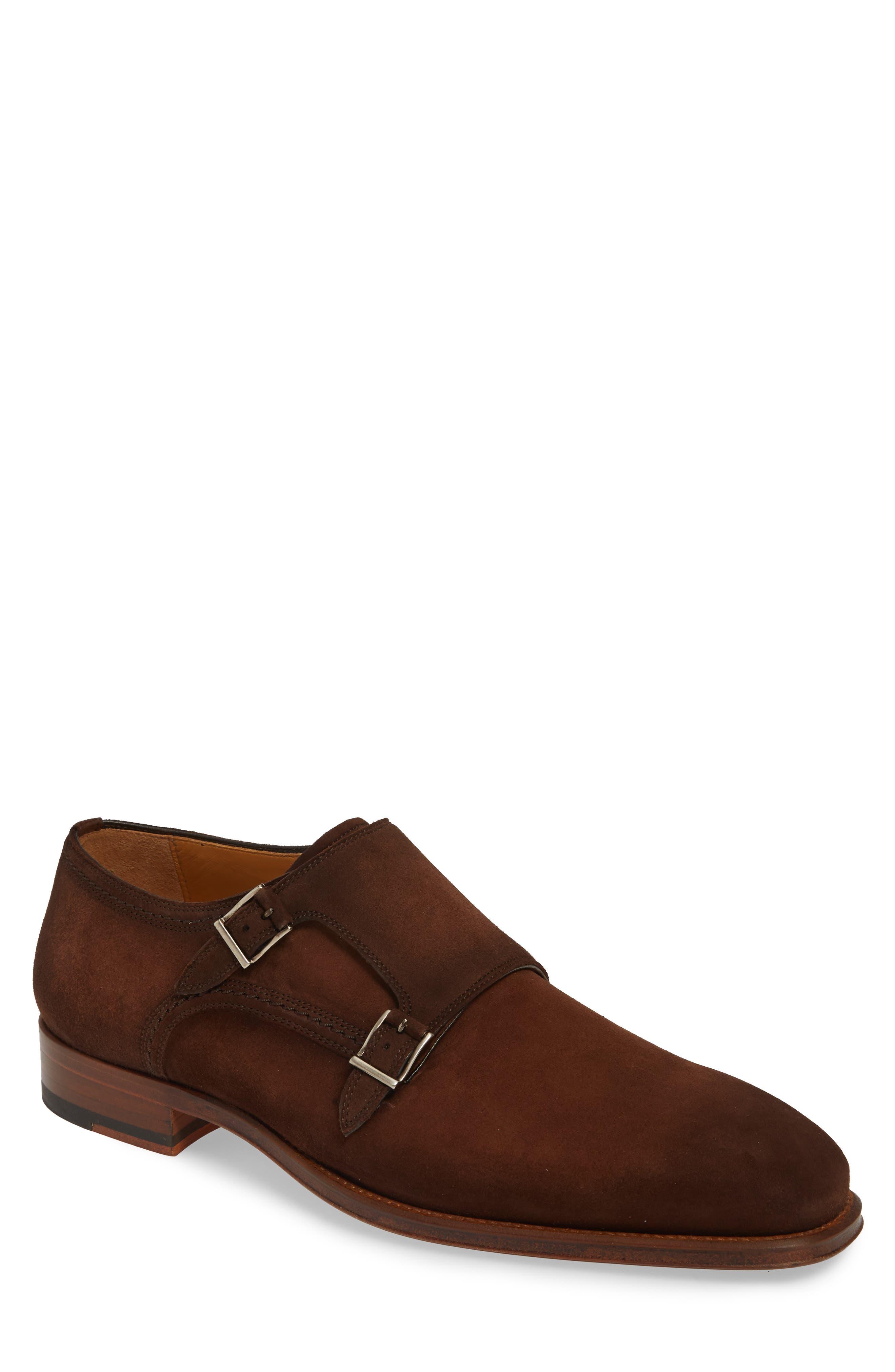 MAGNANNI Landon Double Strap Monk Shoe, Main, color, MID BROWN