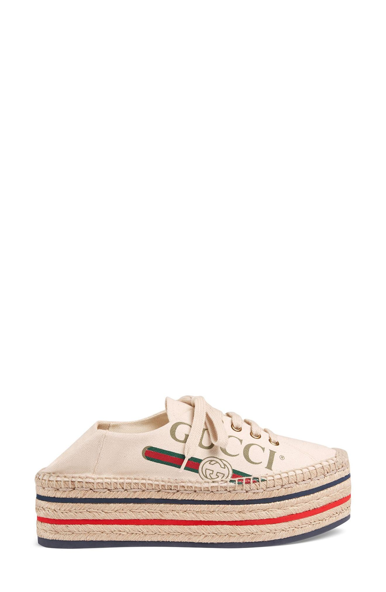 GUCCI, Convertible Logo Espadrille, Alternate thumbnail 2, color, IVORY
