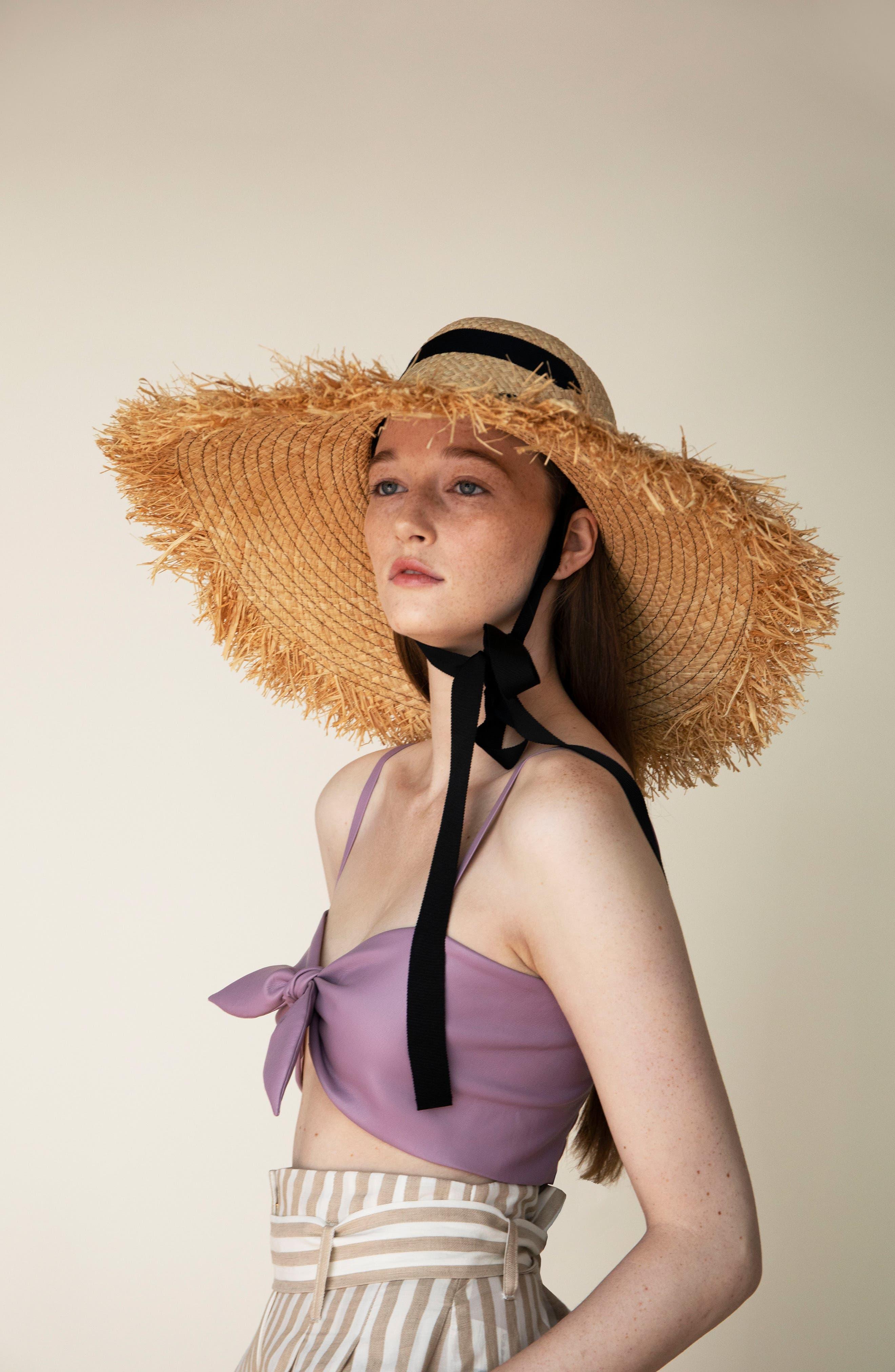 LOLA HATS, Alpargatas Straw Hat, Alternate thumbnail 2, color, NAT/ BLACK