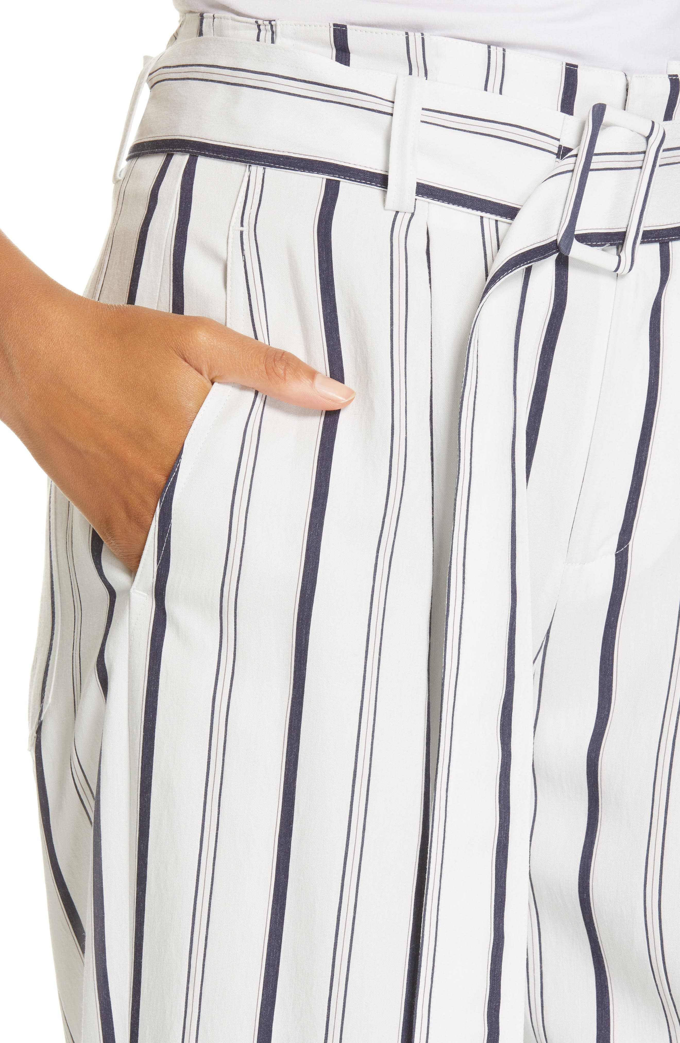 VINCE, Belted Stripe Pants, Alternate thumbnail 5, color, OFF WHITE