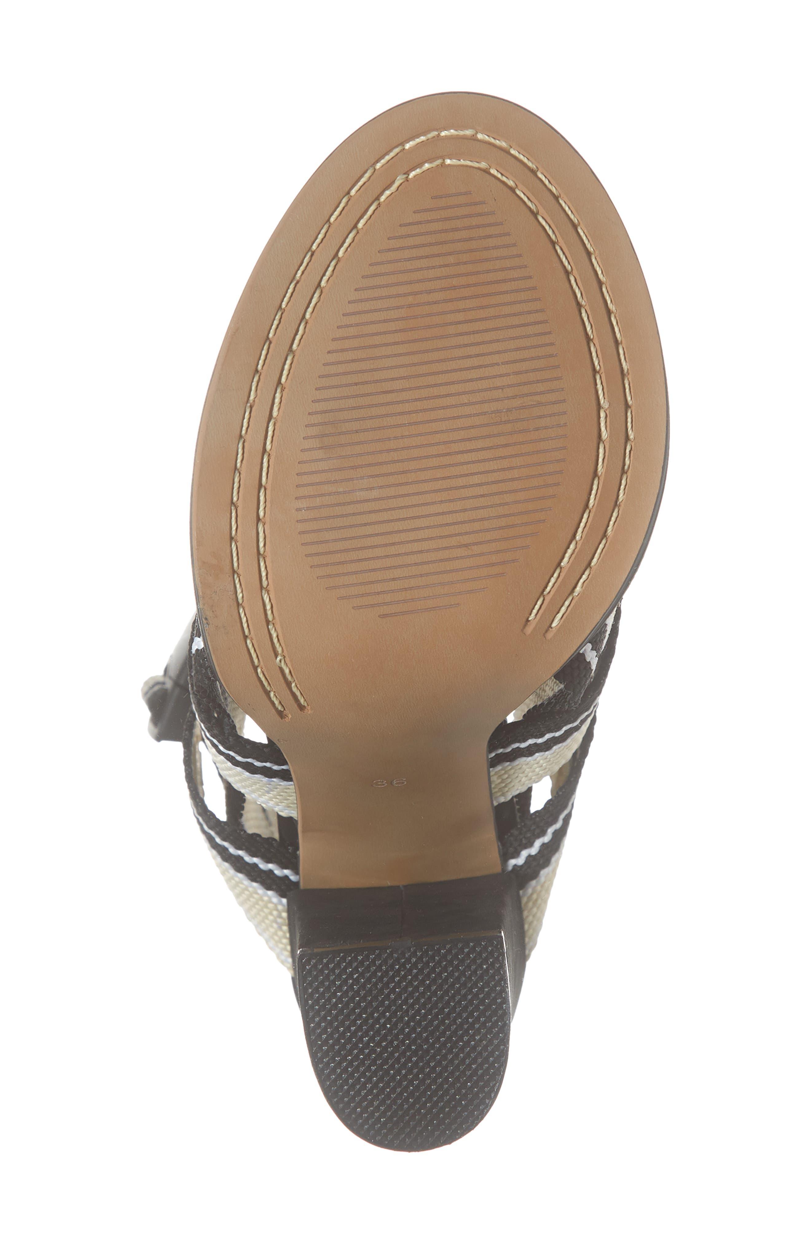 ALIAS MAE, Woven Strappy Sandal, Alternate thumbnail 6, color, NUDE/ BLACK FABRIC