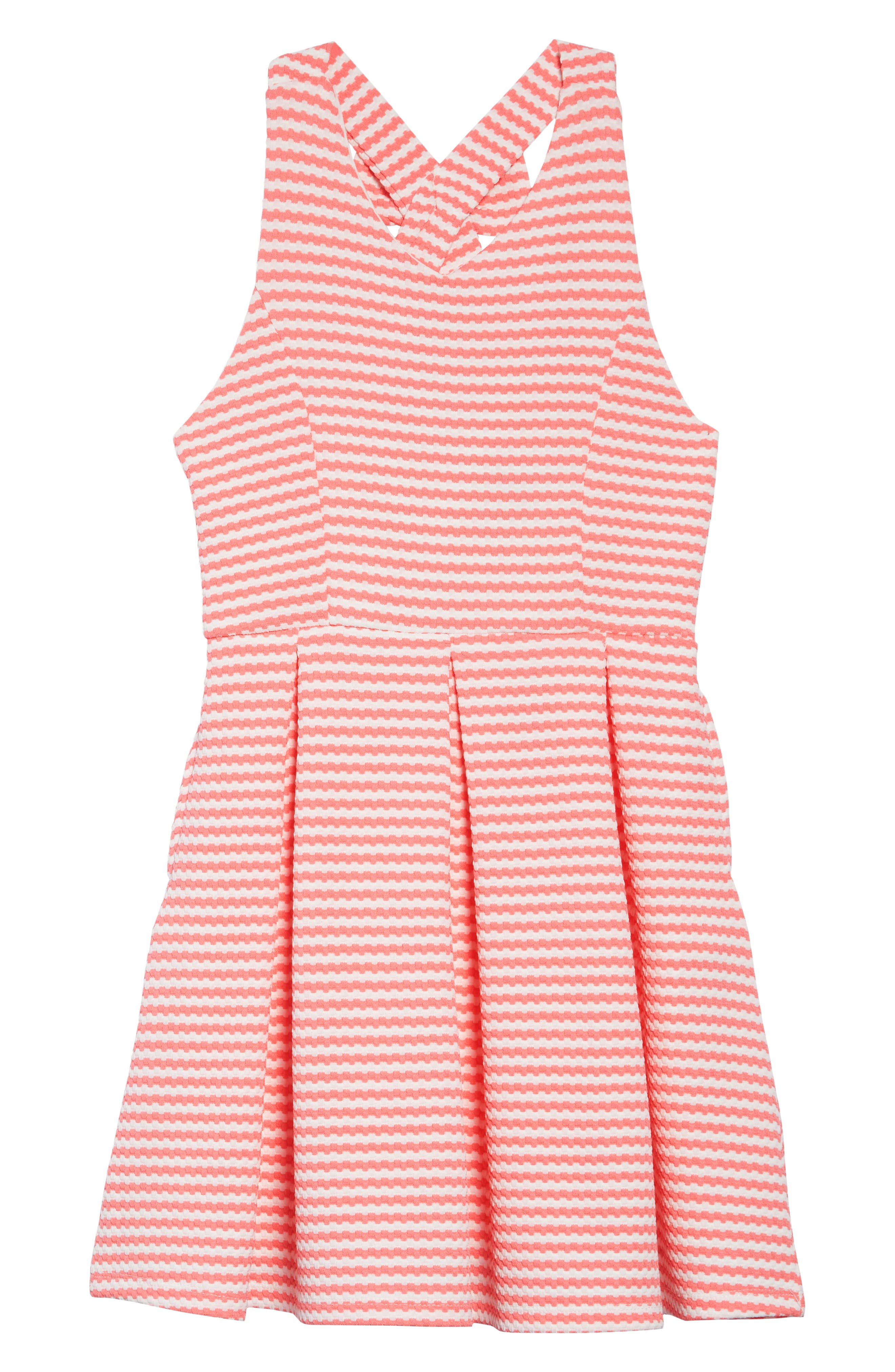AVA & YELLY, Stripe Bow Back Skater Dress, Main thumbnail 1, color, 950