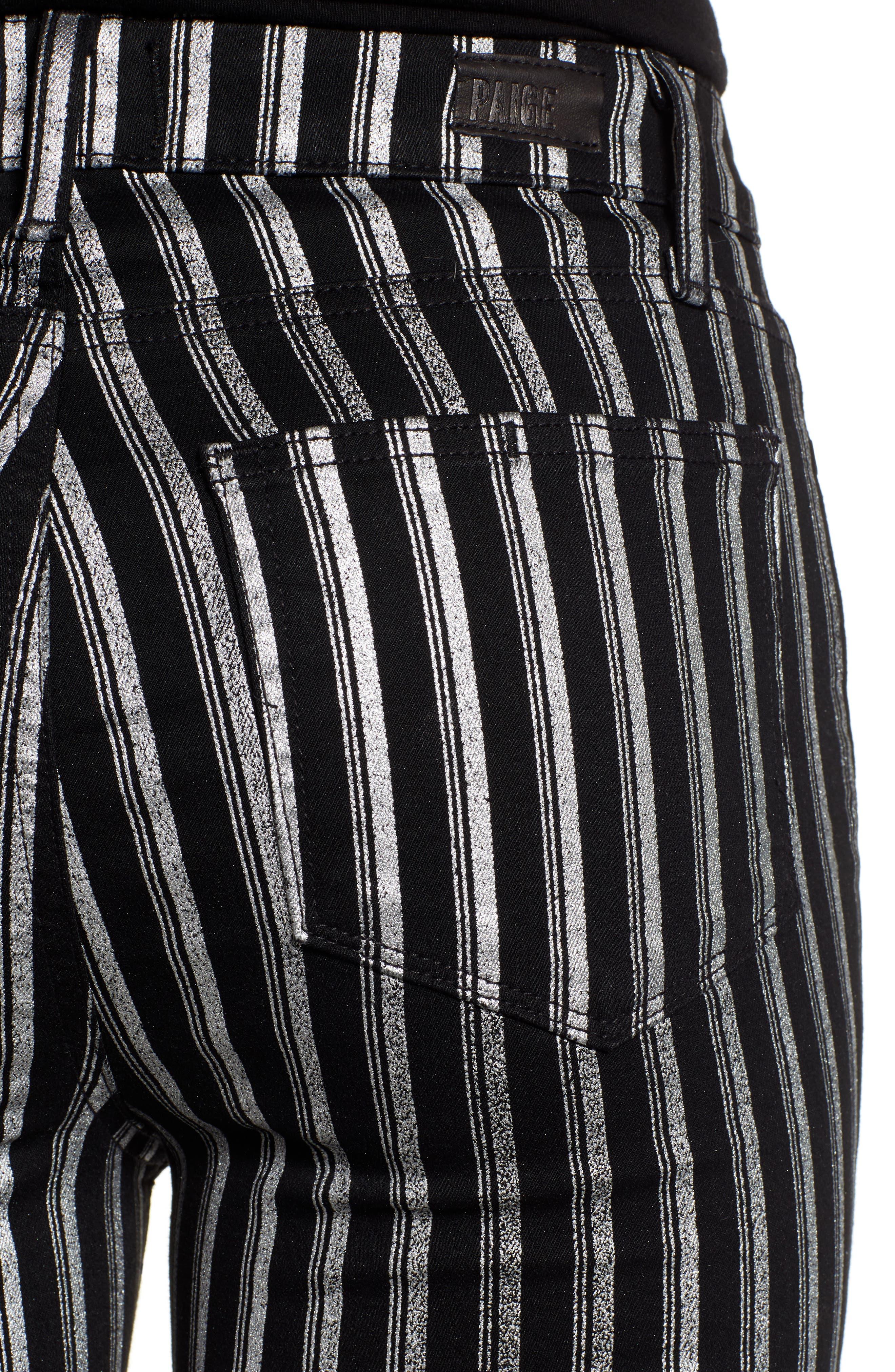 PAIGE, Colette High Waist Crop Flare Jeans, Alternate thumbnail 4, color, SILVER STRIPE