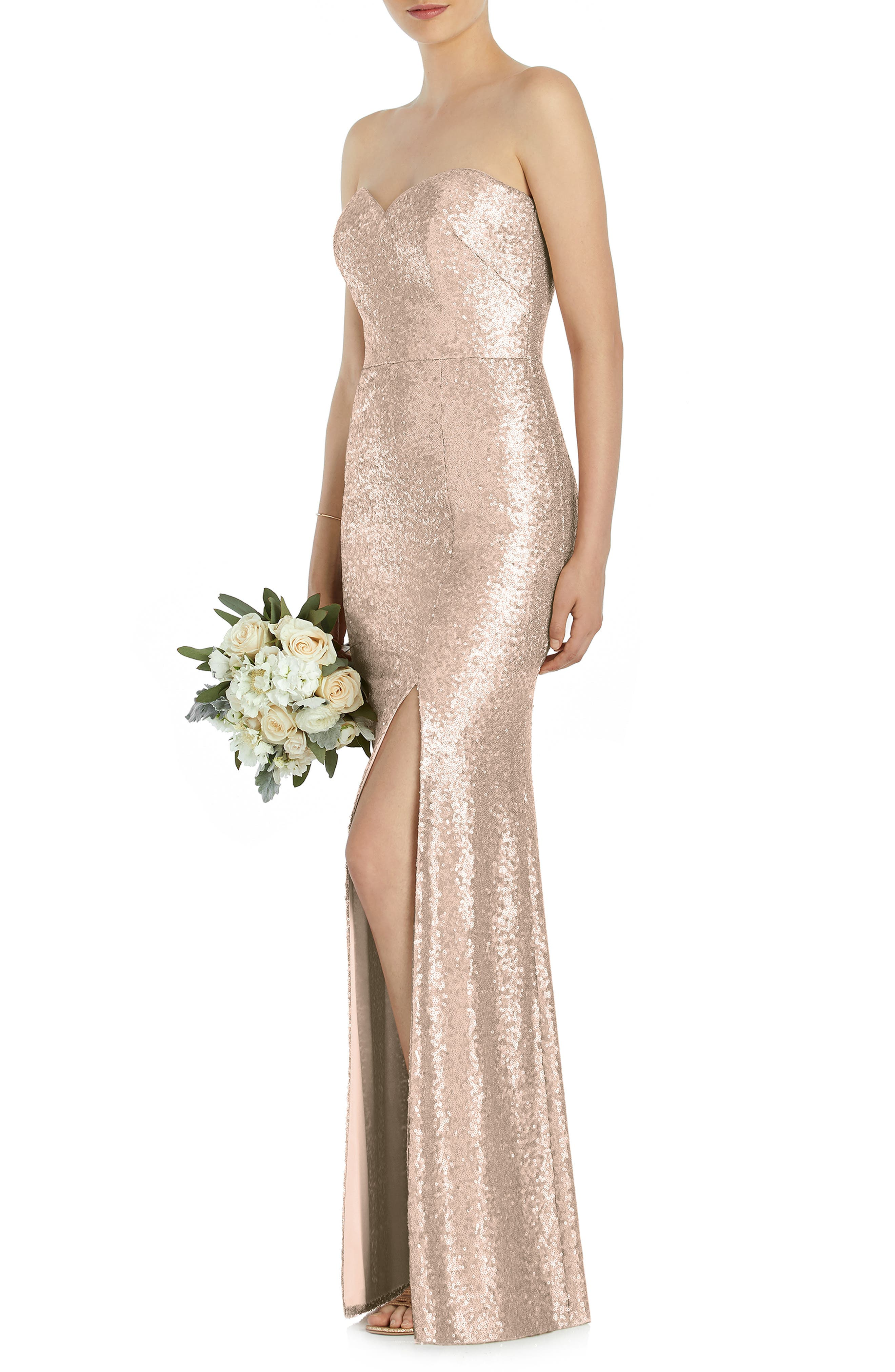 DESSY COLLECTION Elle Strapless Sequin Trumpet Gown, Main, color, ROSE GOLD