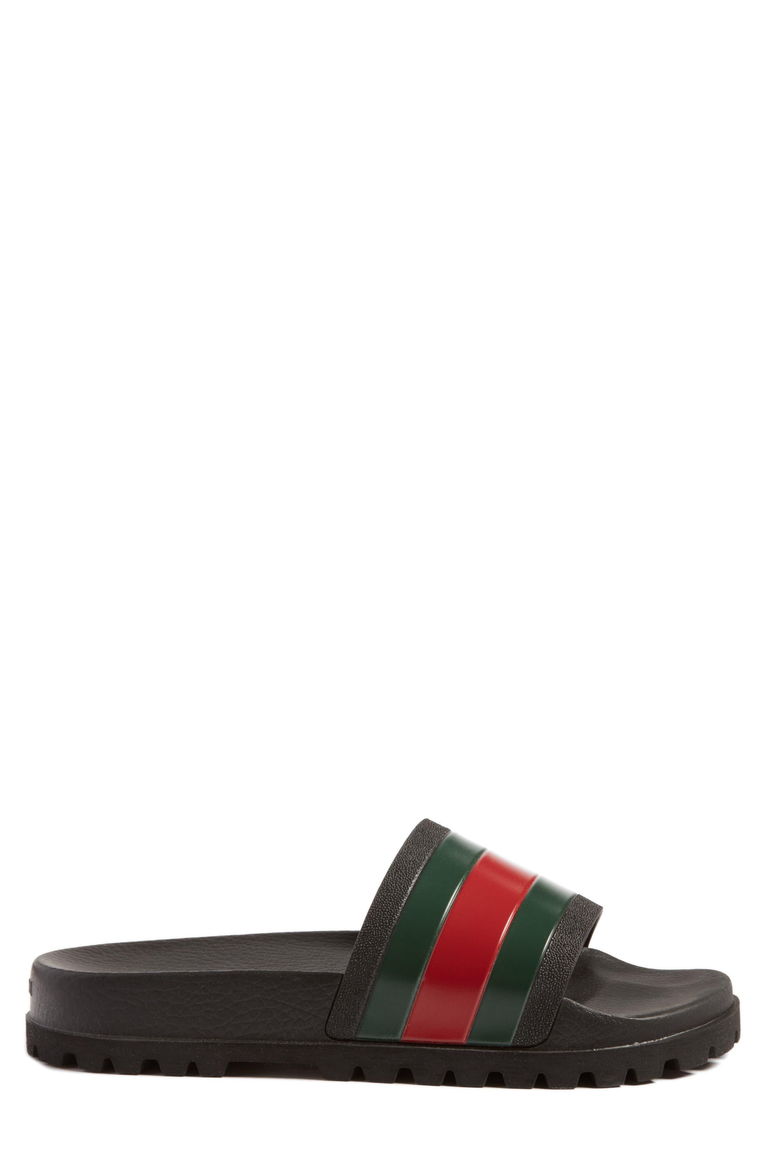 GUCCI, 'Pursuit Treck' Slide Sandal, Alternate thumbnail 3, color, NERO/NERO