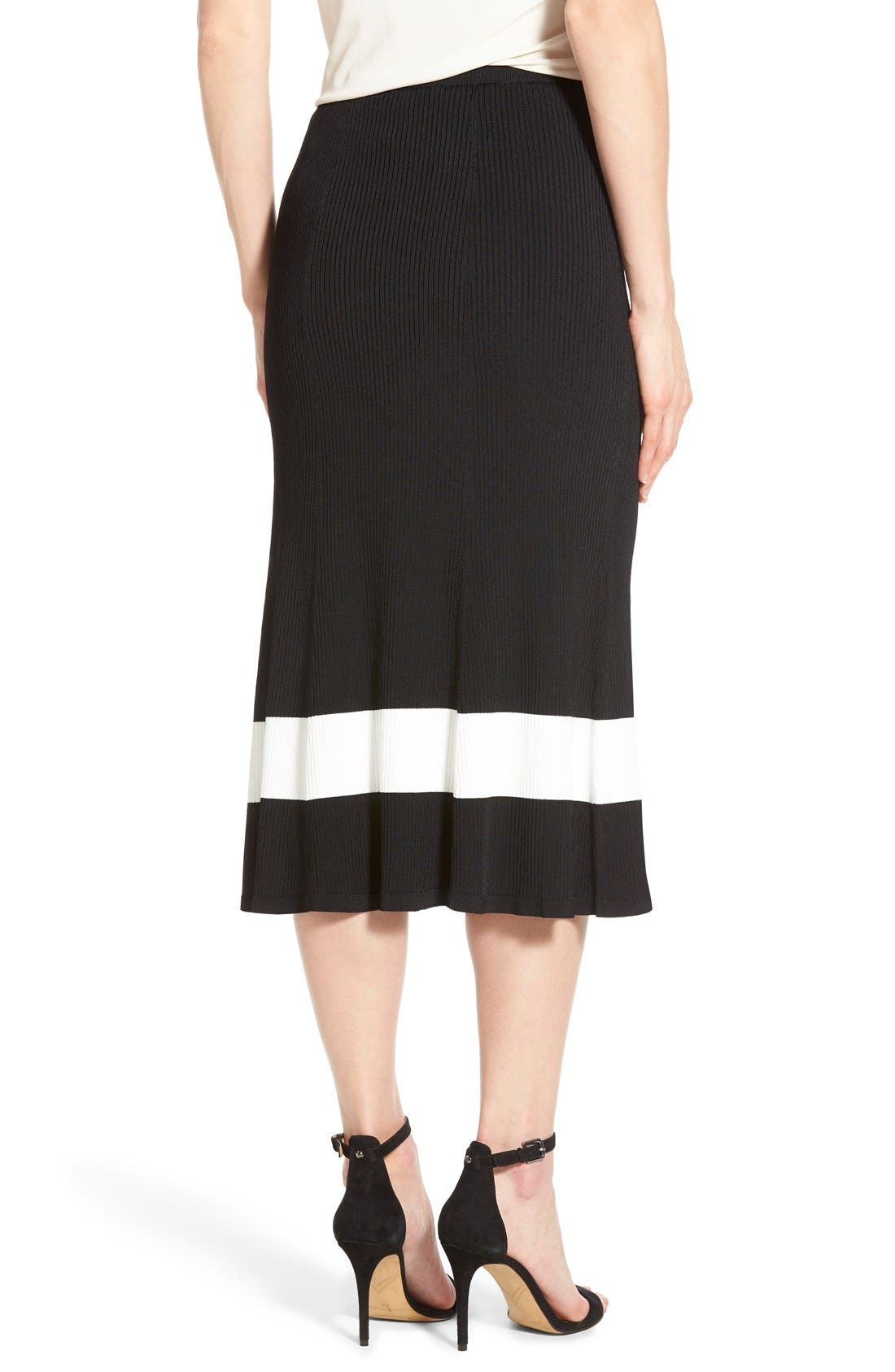 HALOGEN<SUP>®</SUP>, Long Rib Knit Sweater Skirt, Alternate thumbnail 2, color, 001