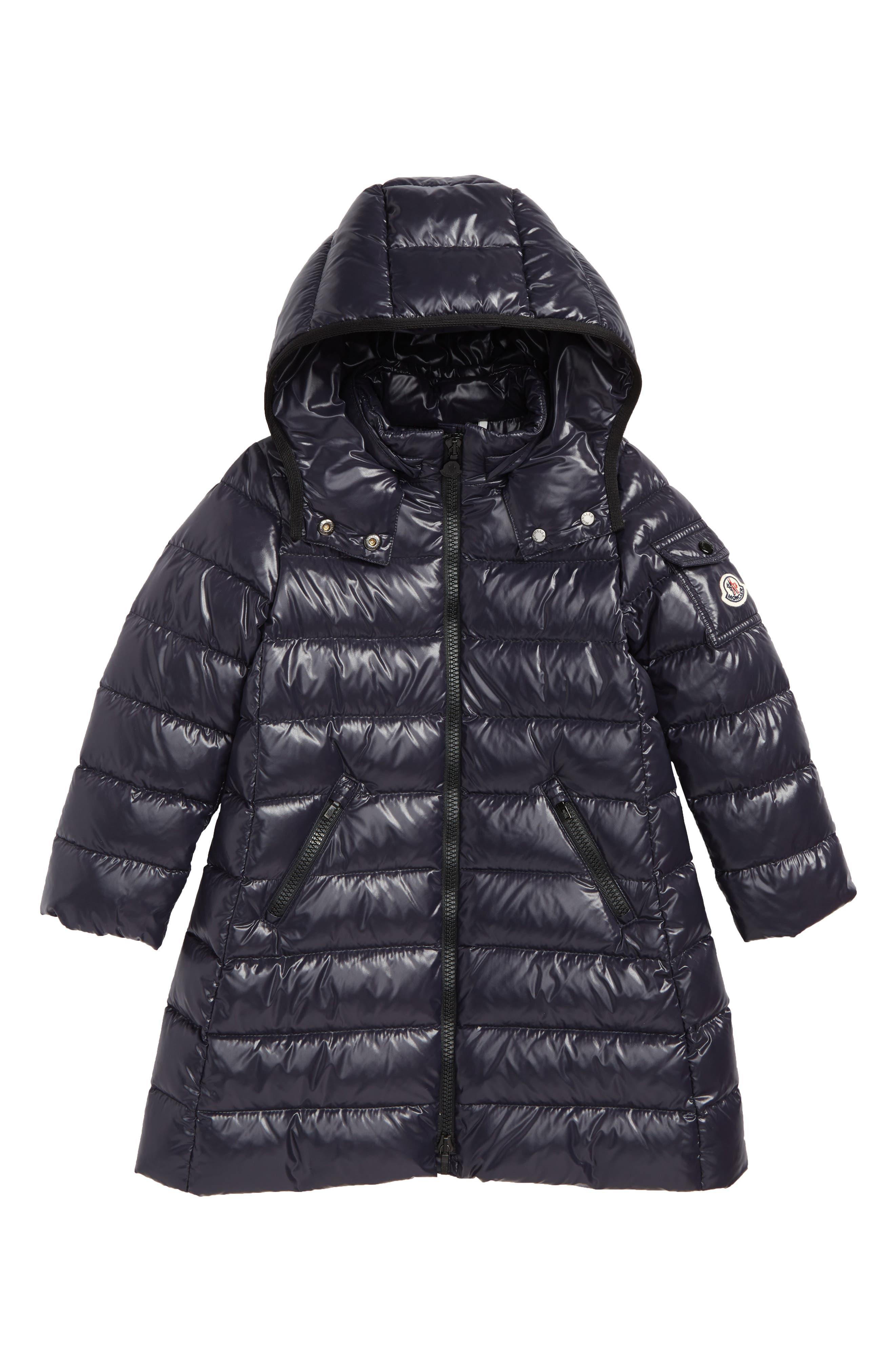 MONCLER, Moka Long Hooded Water Resistant Down Jacket, Main thumbnail 1, color, NAVY