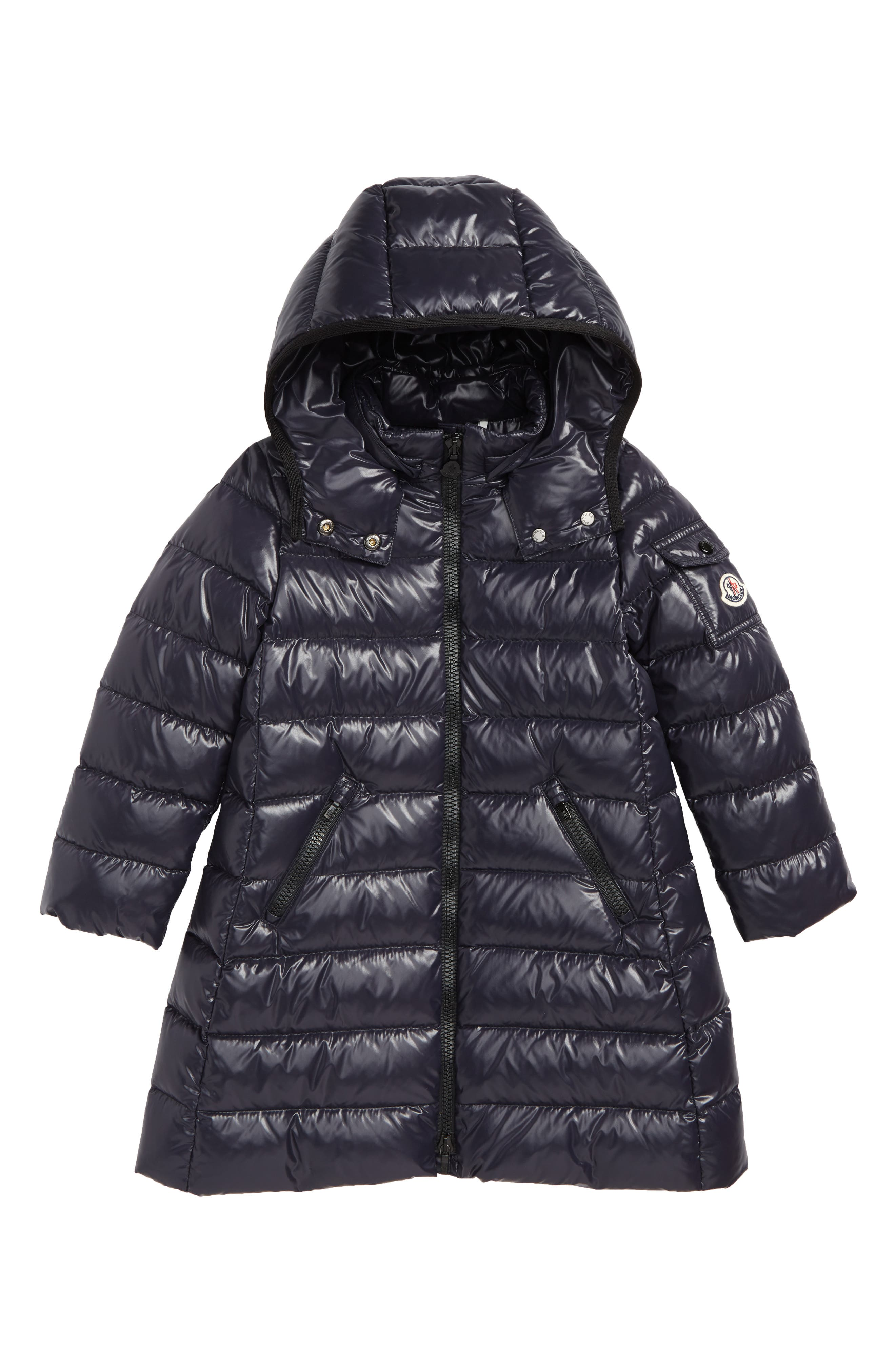 MONCLER Moka Long Hooded Water Resistant Down Jacket, Main, color, NAVY