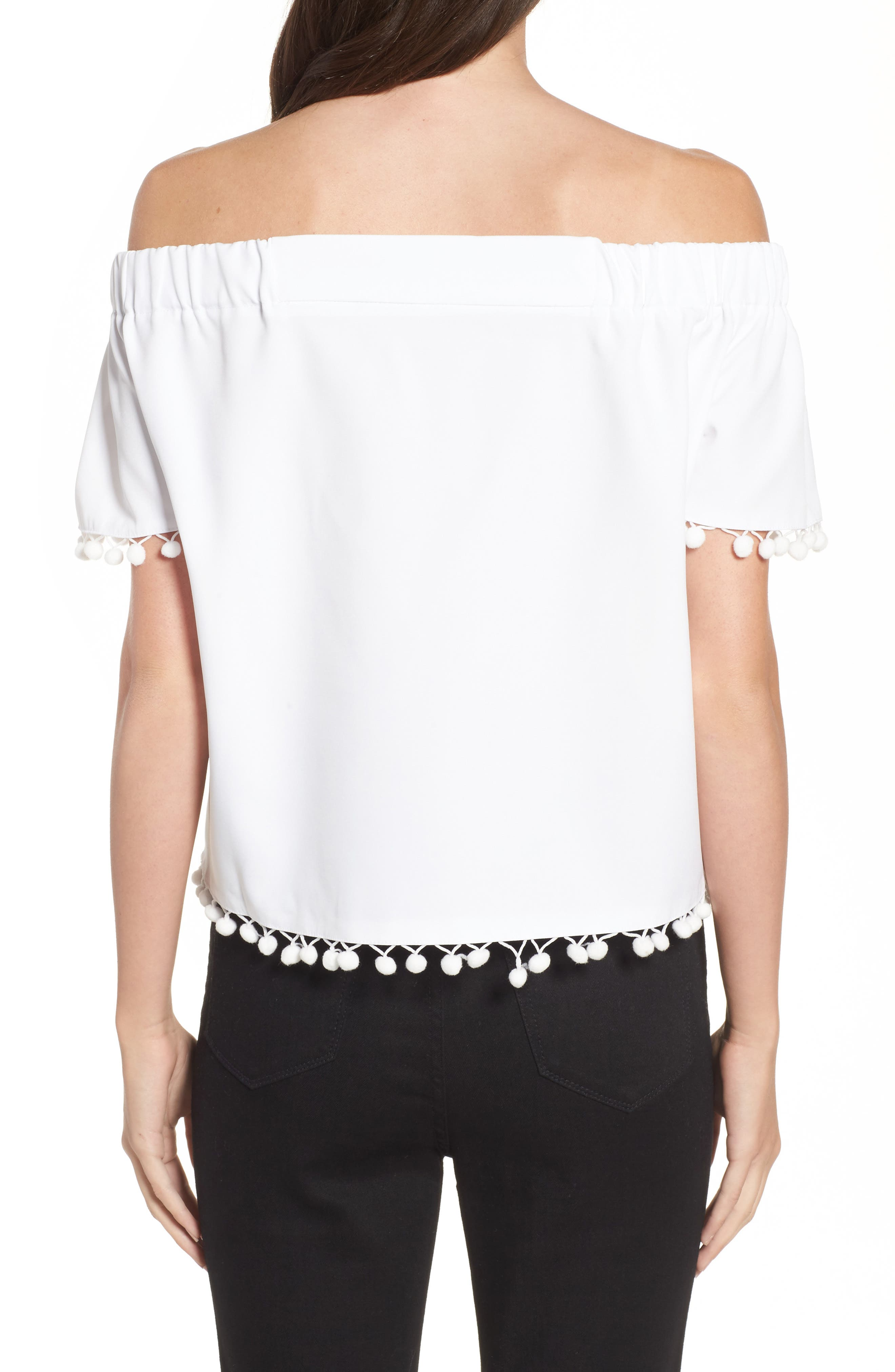 WILLOW & CLAY, Pompom Off the Shoulder Top, Alternate thumbnail 2, color, 106