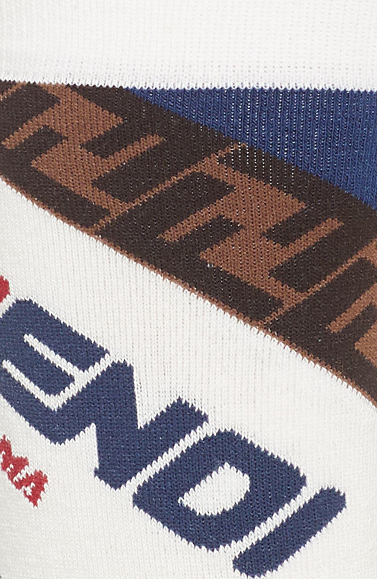 FENDI, x FILA Mania Logo Socks, Alternate thumbnail 2, color, WHITE MULTI