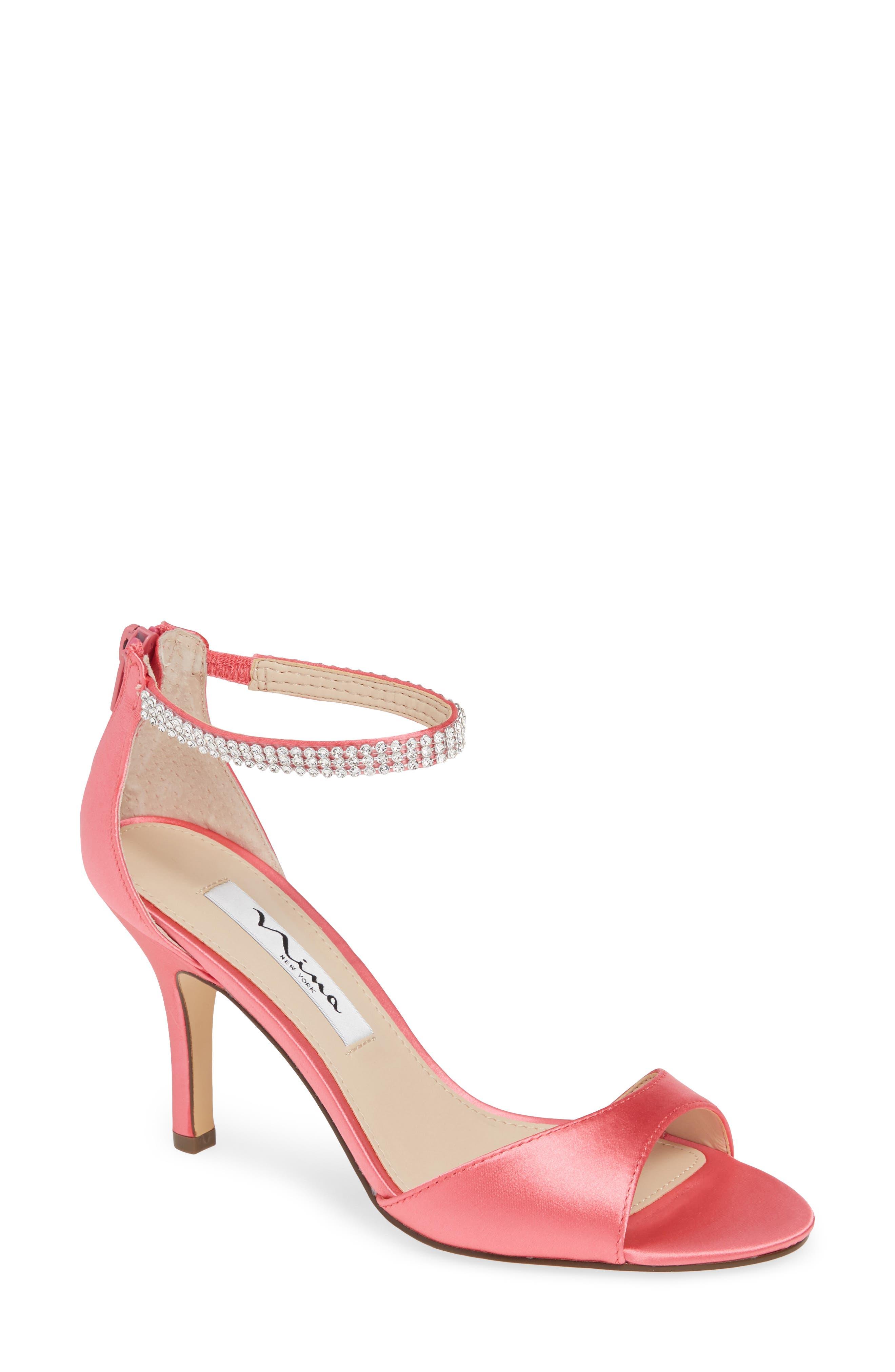 NINA, Volanda Ankle Strap Sandal, Main thumbnail 1, color, STRAWBERRY PUNCH SATIN