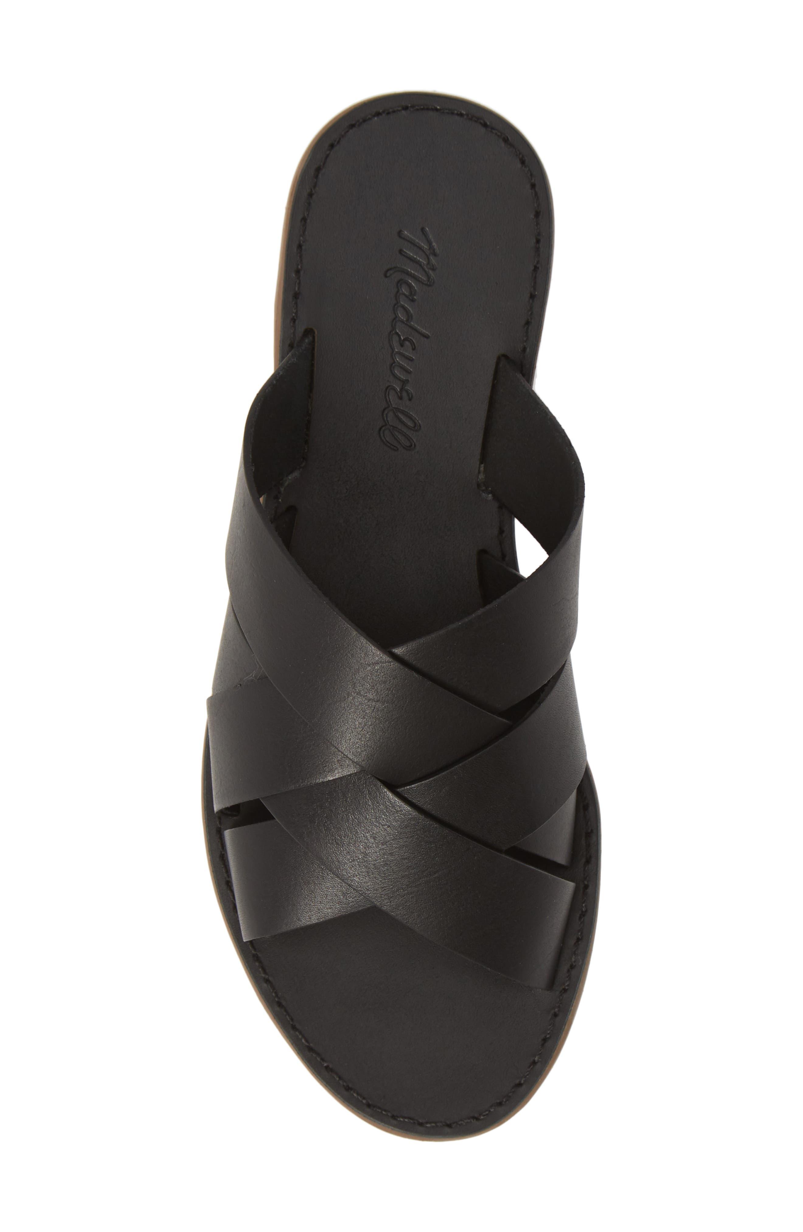 MADEWELL, The Boardwalk Woven Slide Sandal, Alternate thumbnail 5, color, TRUE BLACK