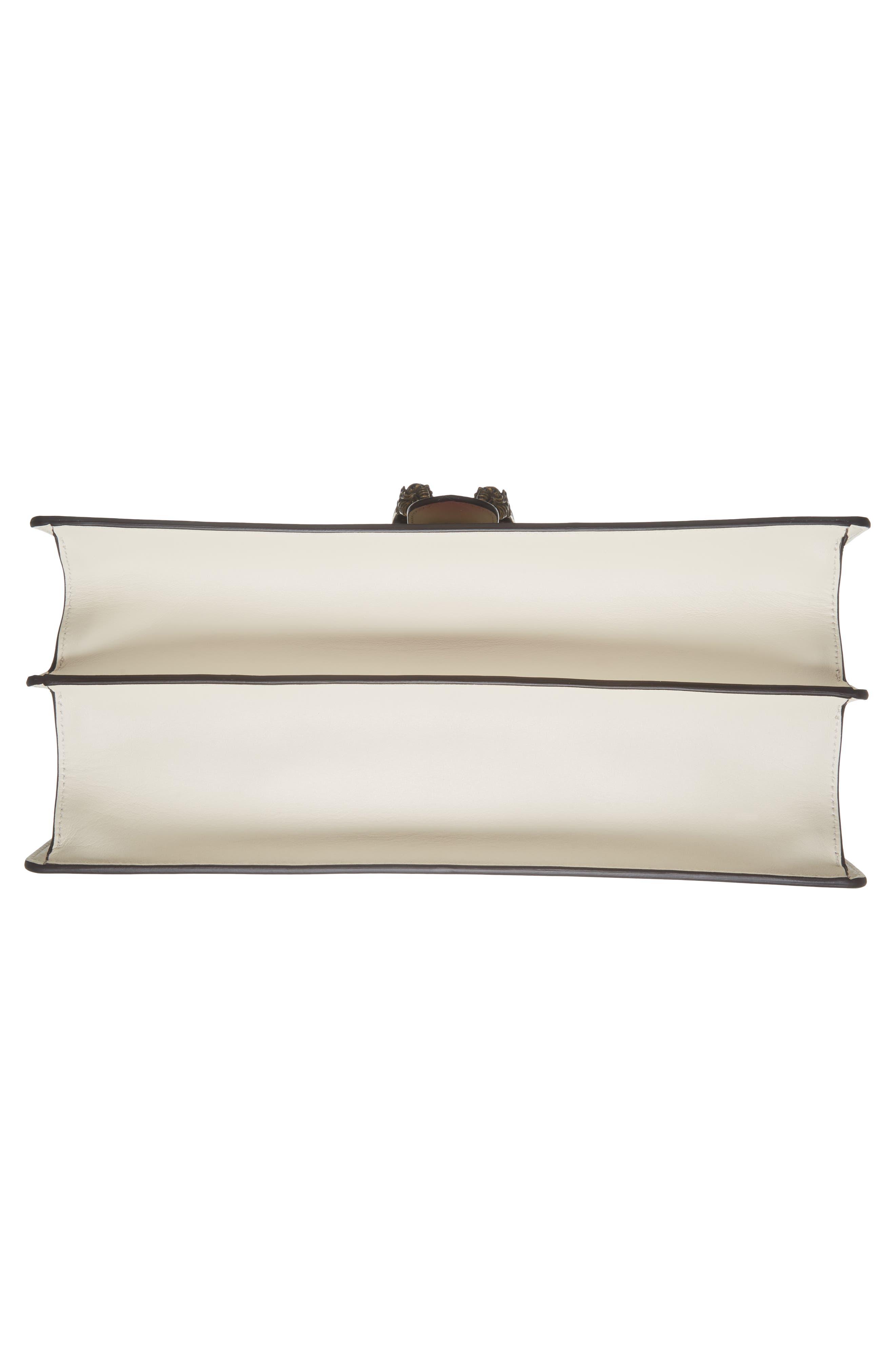 GUCCI, Large Dionysus Top Handle Leather Shoulder Bag, Alternate thumbnail 6, color, MYSTIC WHITE/ BLUE/ RED