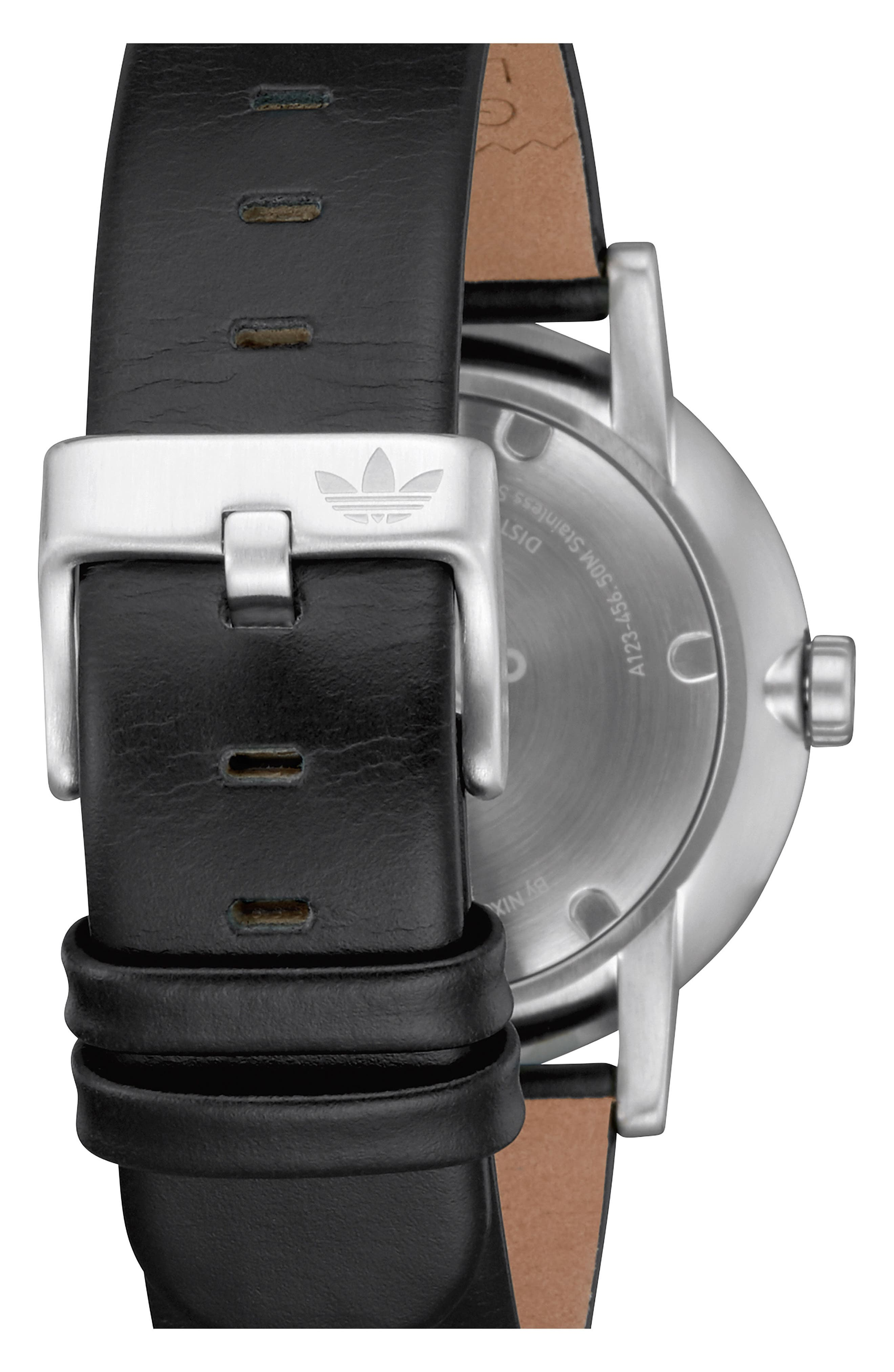 ADIDAS, District Leather Strap Watch, 40mm, Alternate thumbnail 2, color, BLACK/ CHARCOAL/ SILVER