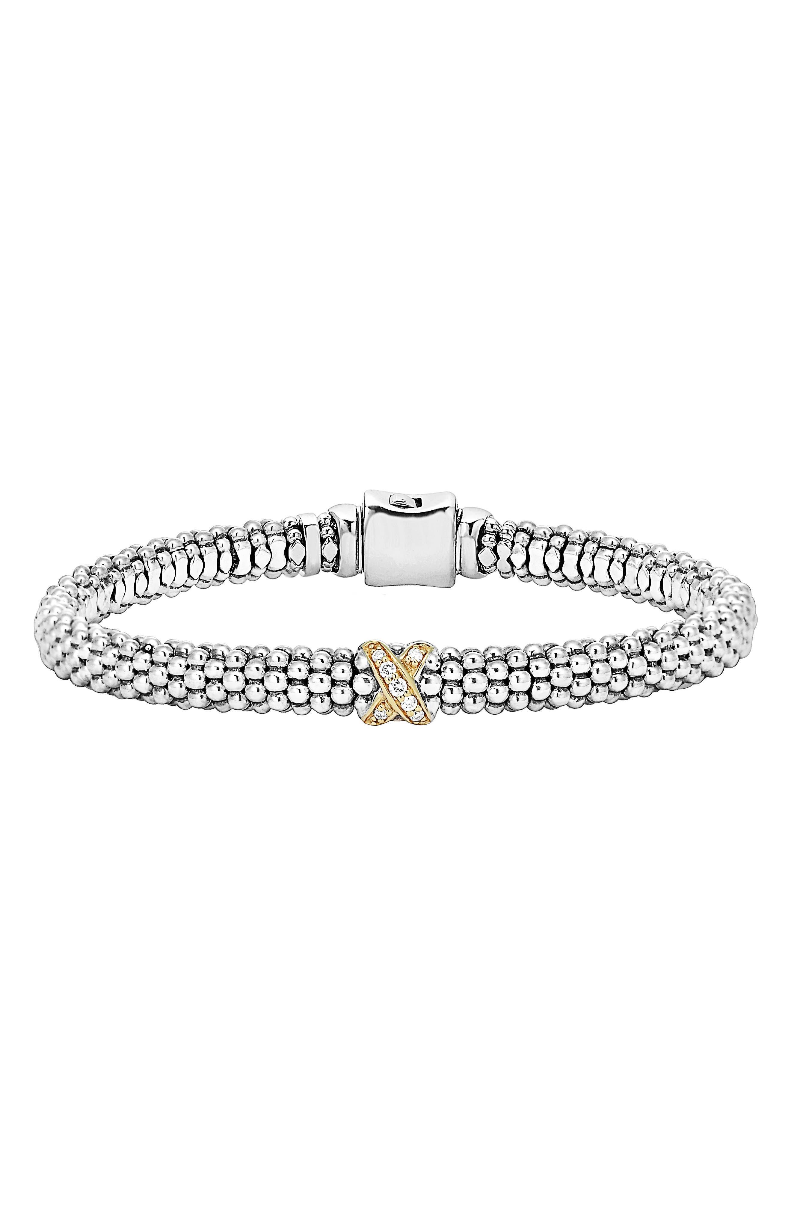 LAGOS, Caviar 'Signature Caviar' Diamond Rope Bracelet, Main thumbnail 1, color, STERLING SILVER/ GOLD