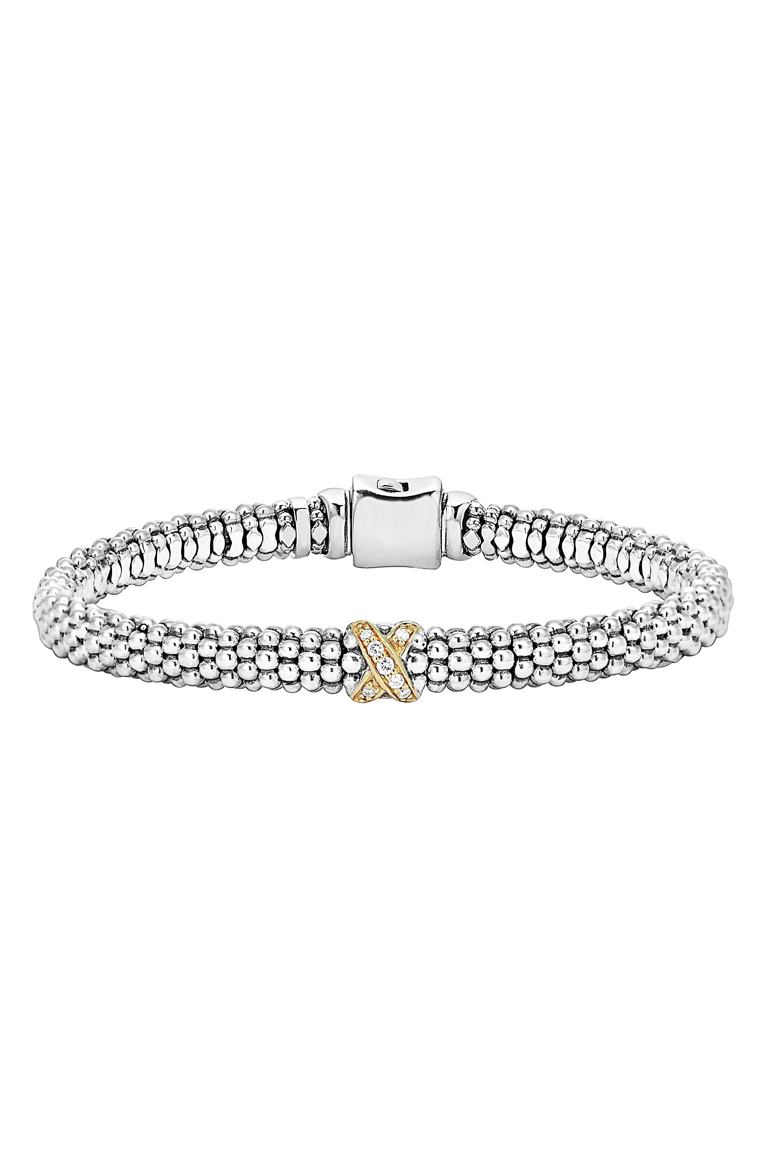 LAGOS Caviar 'Signature Caviar' Diamond Rope Bracelet, Main, color, STERLING SILVER/ GOLD