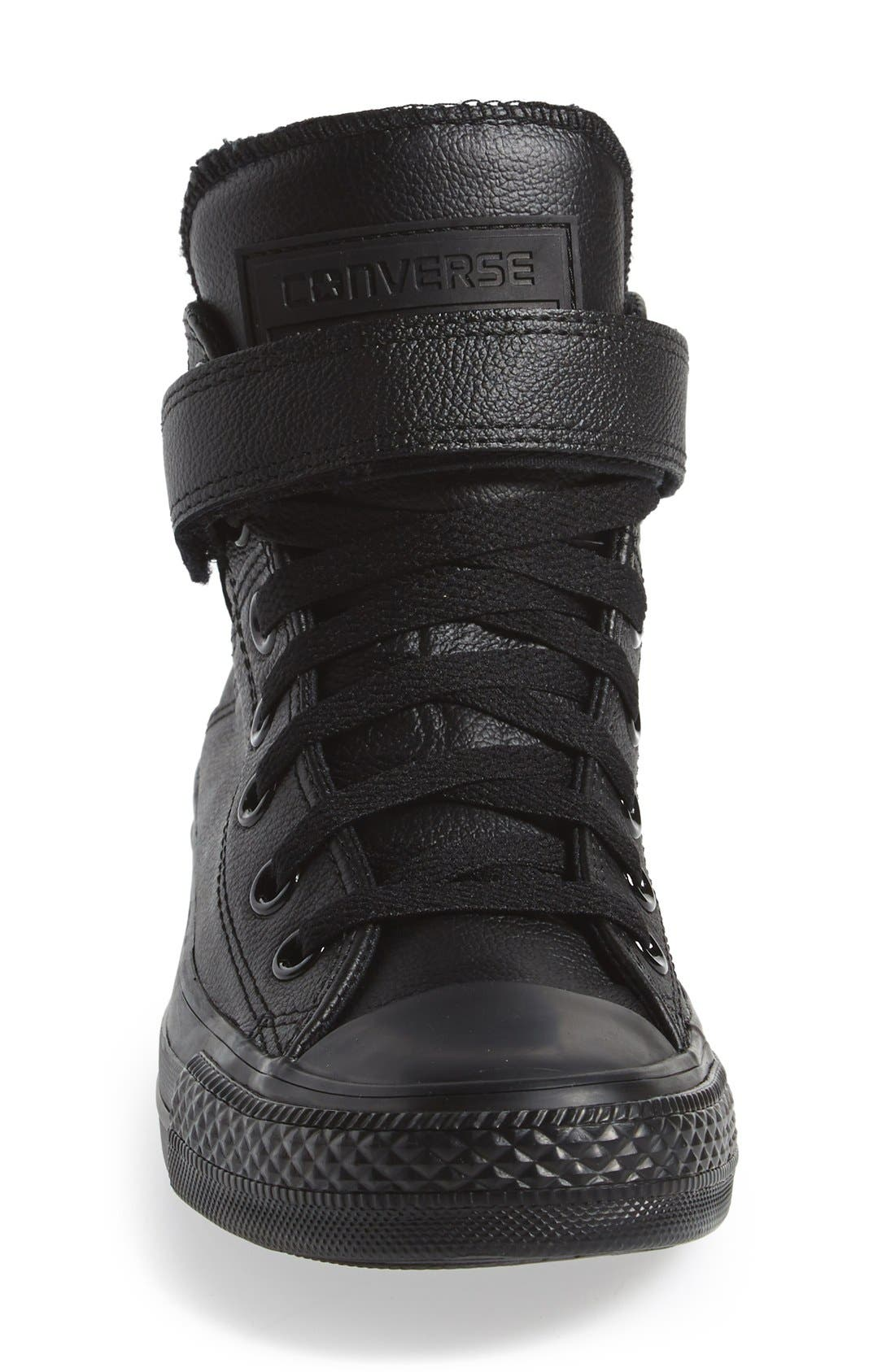 CONVERSE, Chuck Taylor<sup>®</sup> All Star<sup>®</sup> 'Brea' Leather High Top Sneaker, Alternate thumbnail 4, color, 001