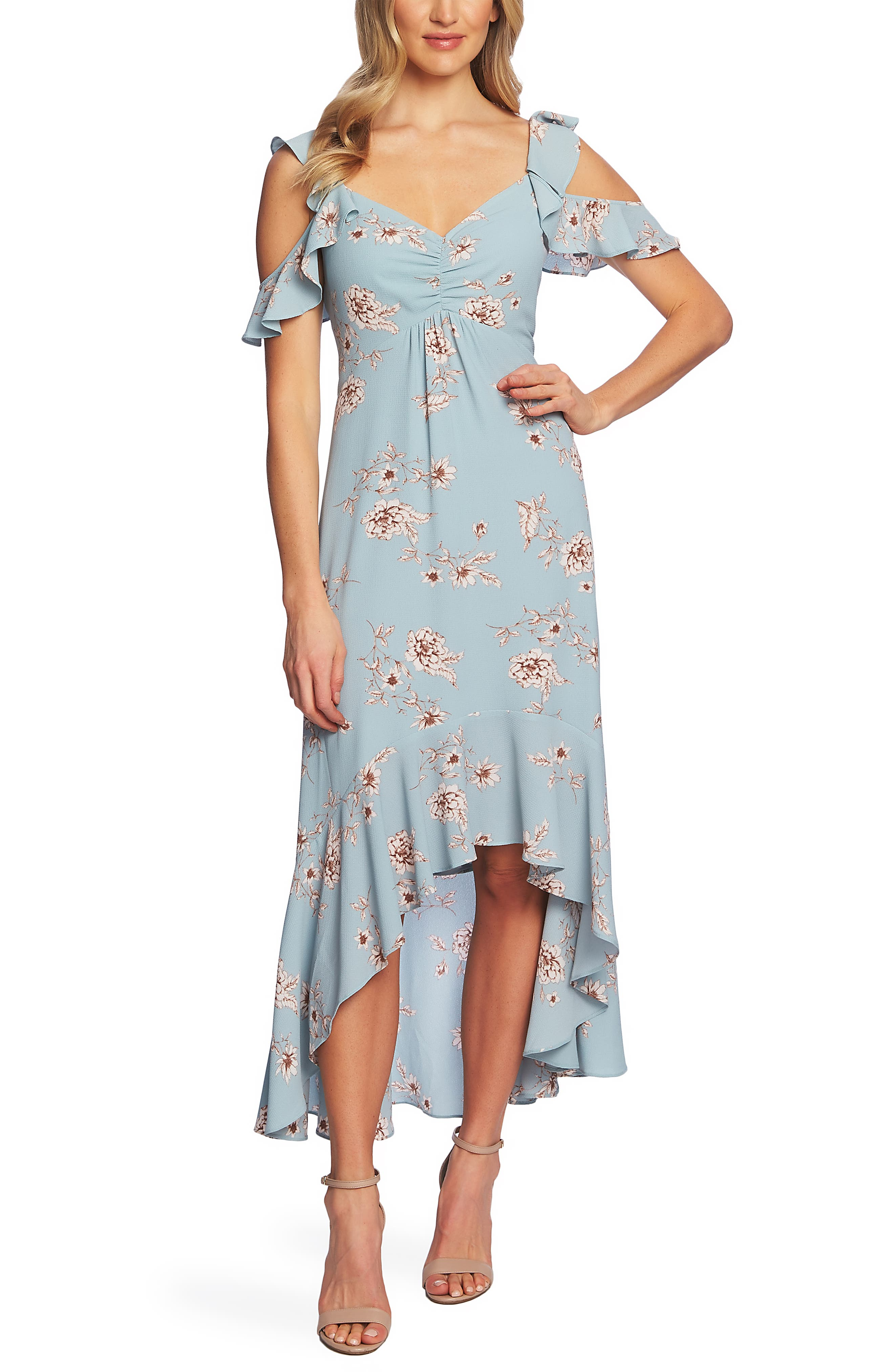 Cece Etched Floral High/low Midi Dress