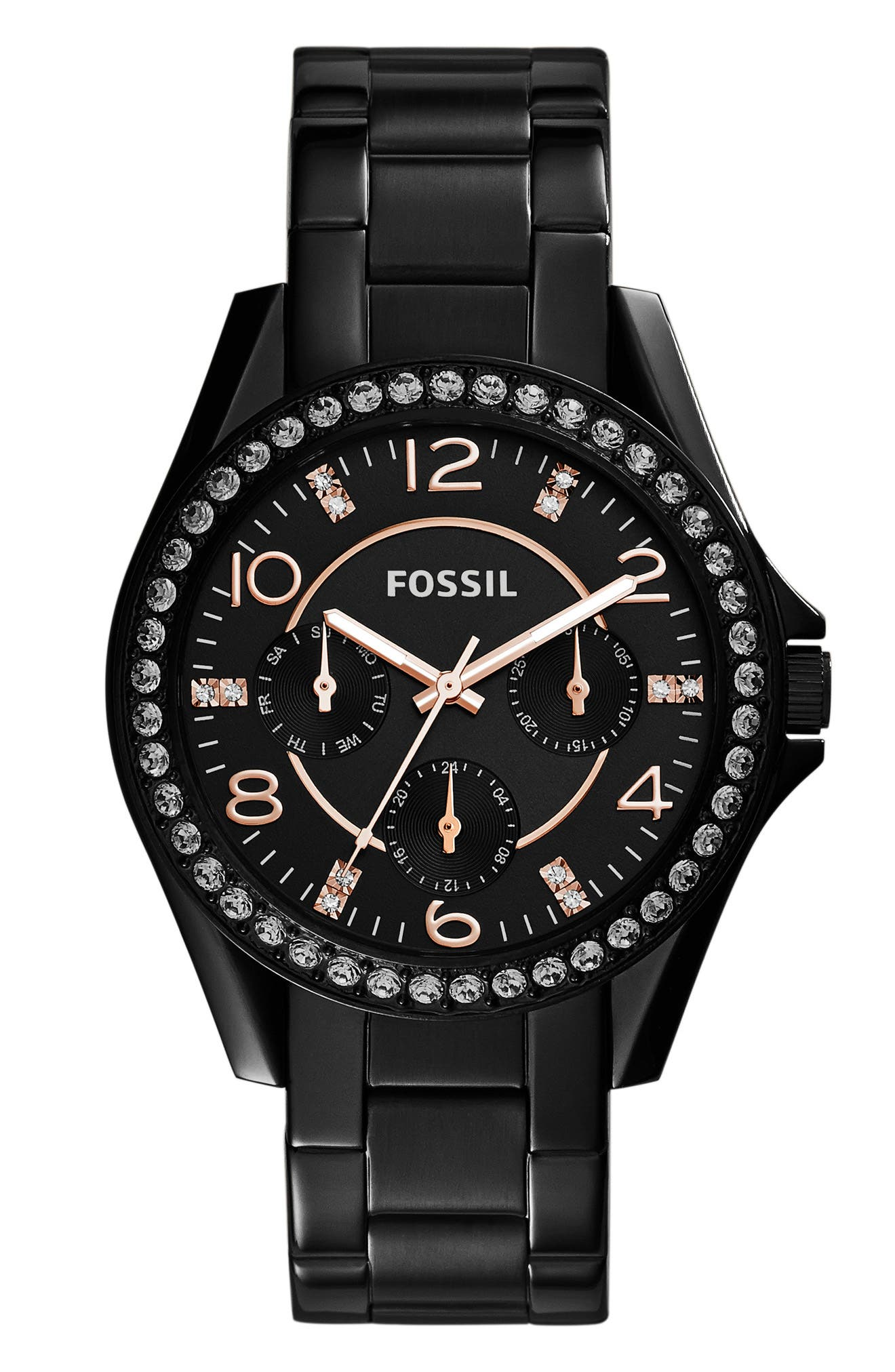 FOSSIL, 'Riley' Round Crystal Bezel Bracelet Watch, 38mm, Main thumbnail 1, color, 002