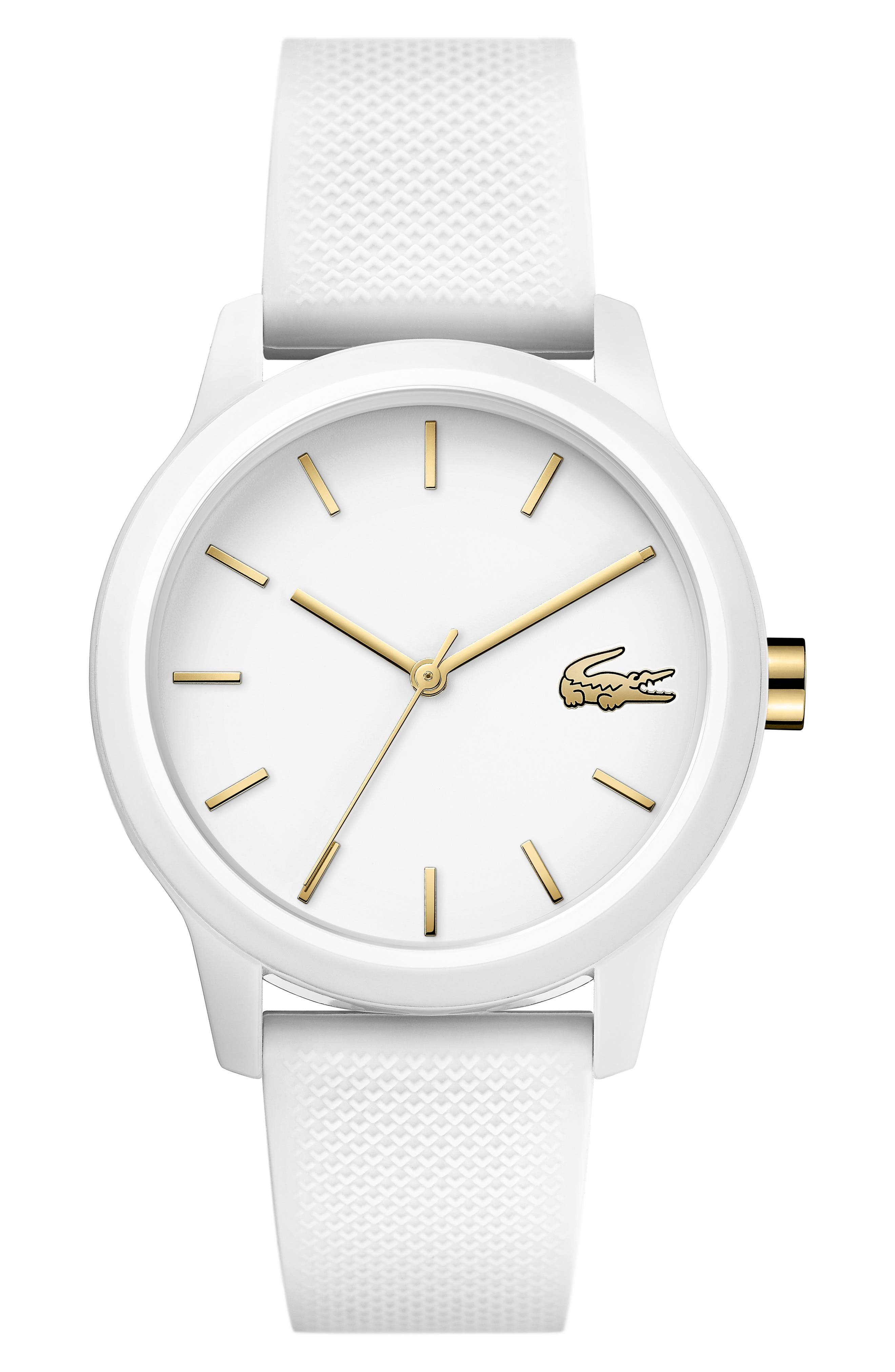 LACOSTE, 12.12 Silicone Strap Watch, 36mm, Main thumbnail 1, color, WHITE
