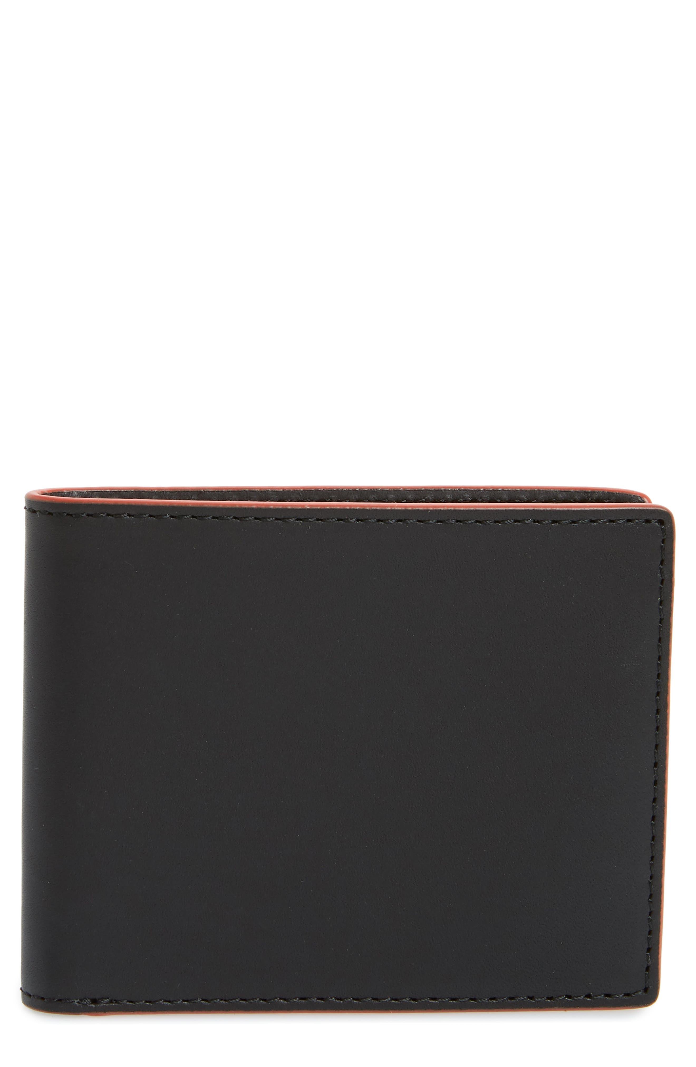 RAG & BONE, Hampshire Leather Bifold Wallet, Main thumbnail 1, color, BLACK COMBO