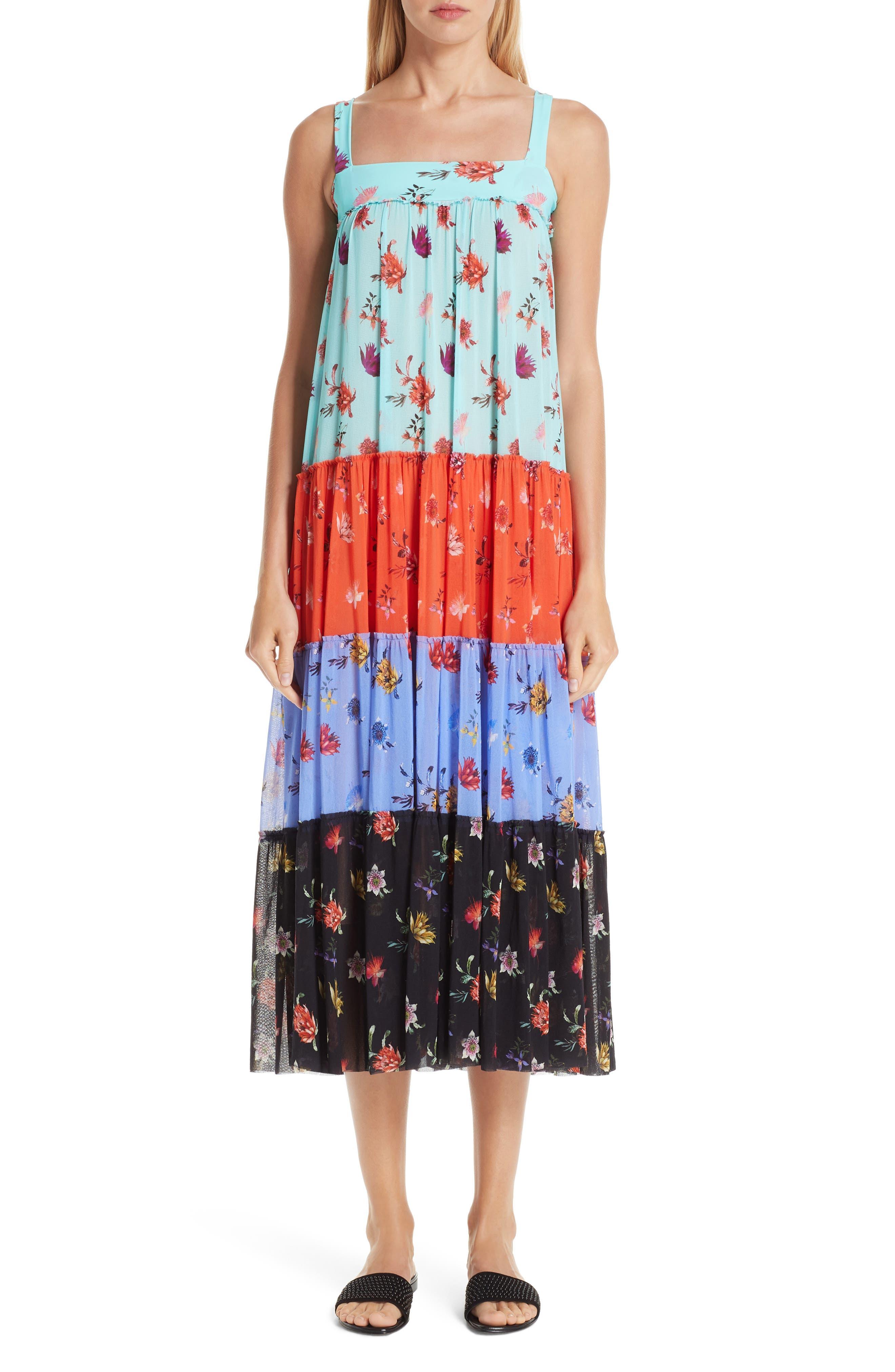 Fuzzi Tiered Patchwork Midi Dress, Blue